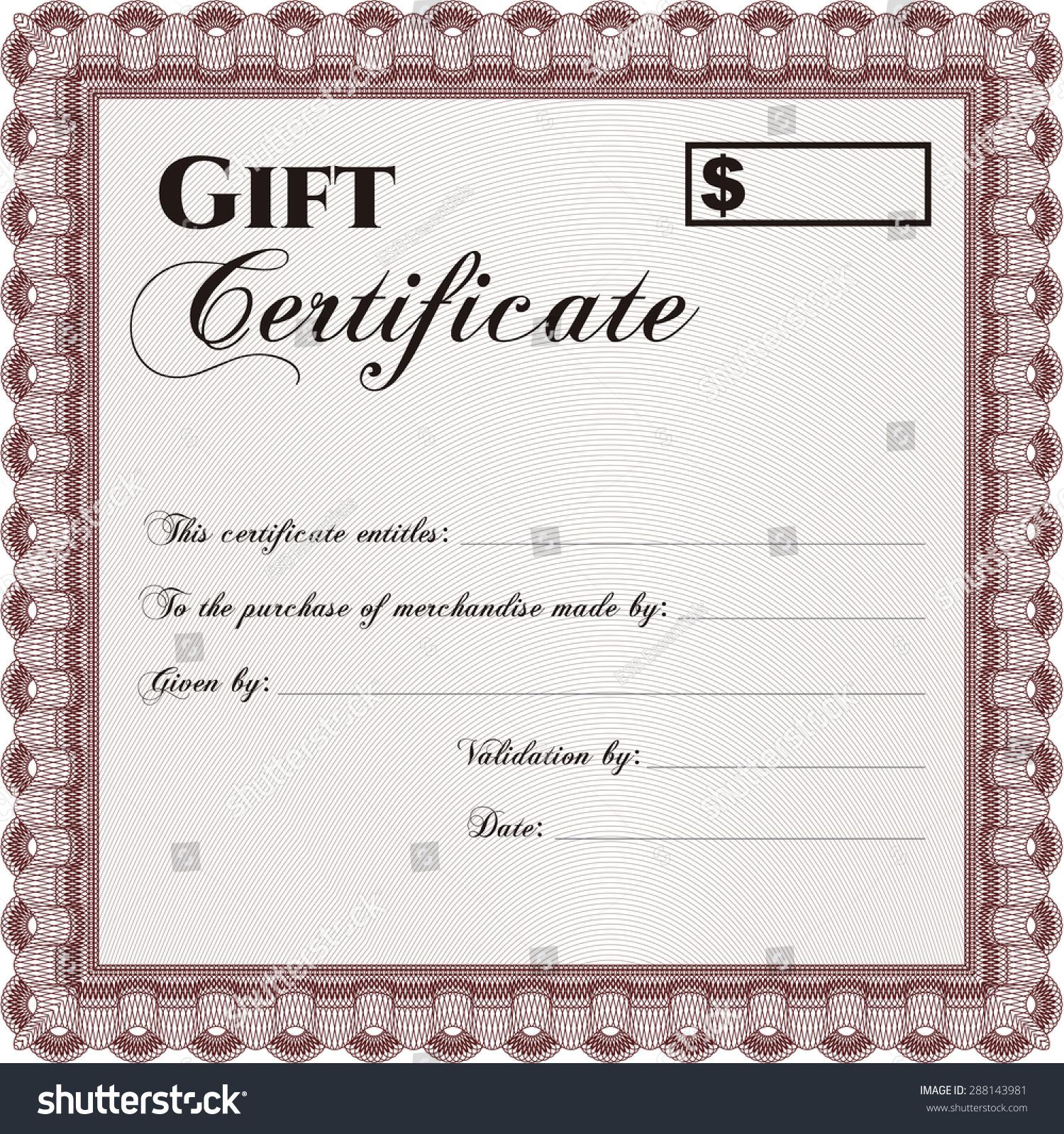 Retro Gift Certificate Template Customizable Easy Stock Vector