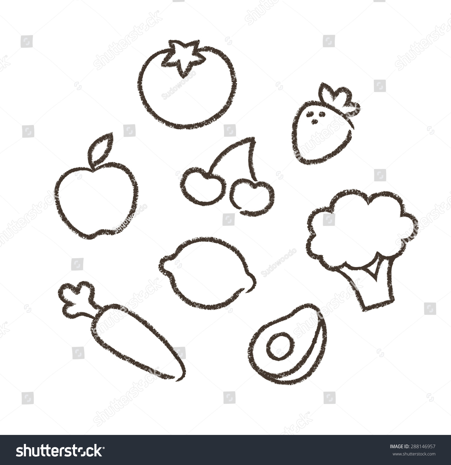 Hand Drawn Drawings Fruits Vegetables Simple Stock Vector Royalty