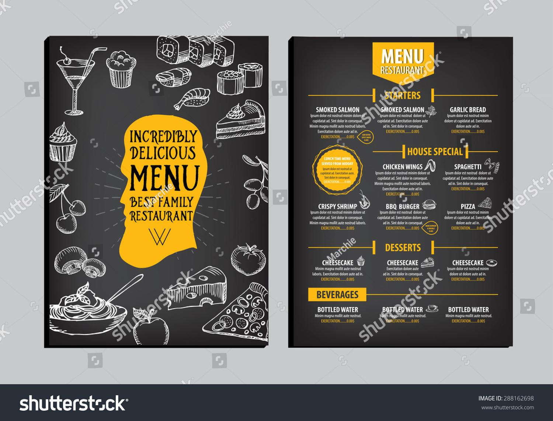 Restaurant Cafe Menu Template Design Food Vector 288162698 – Cafe Menu Template