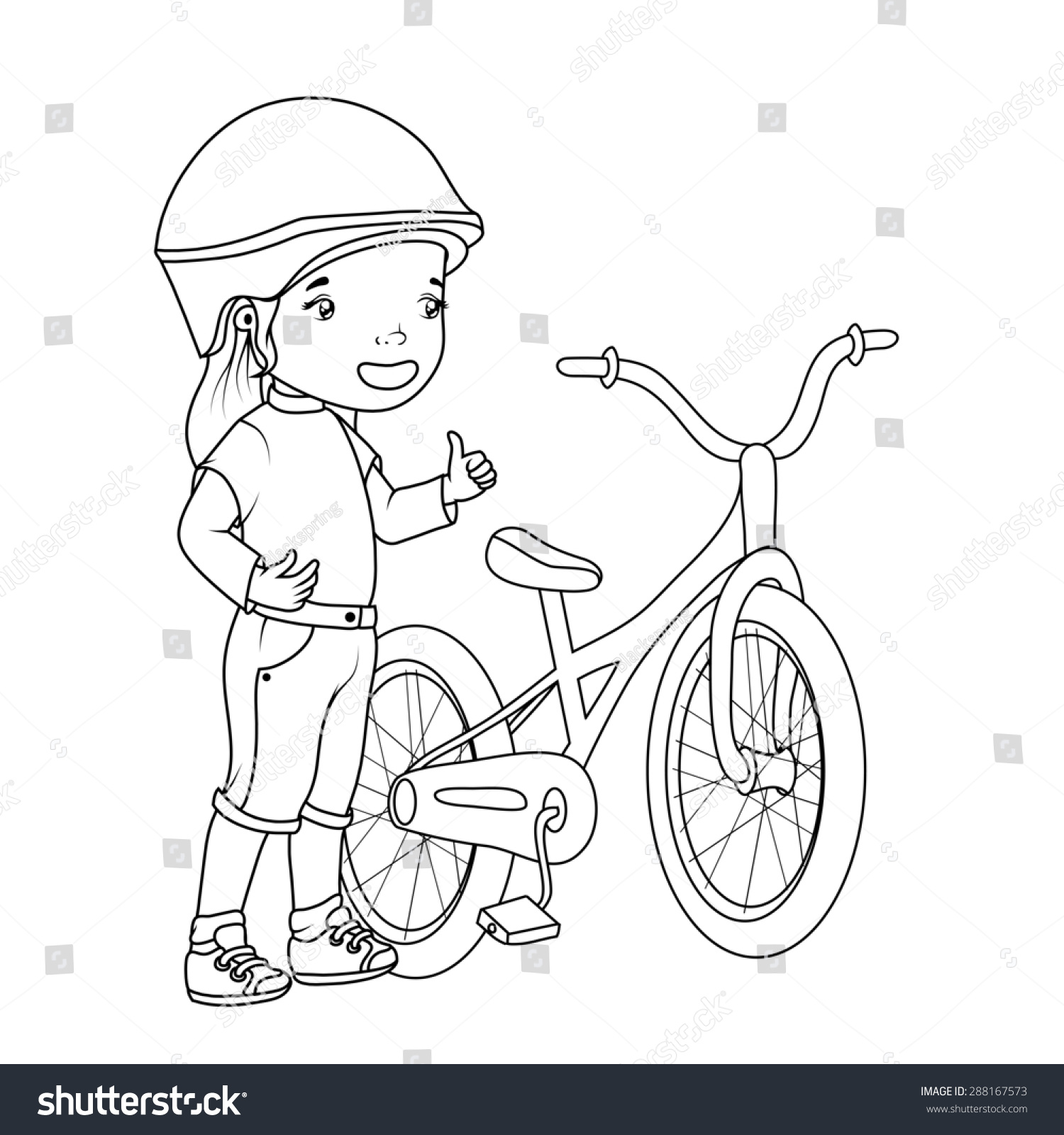 coloring book girl with bicycle - Bicycle Coloring Book