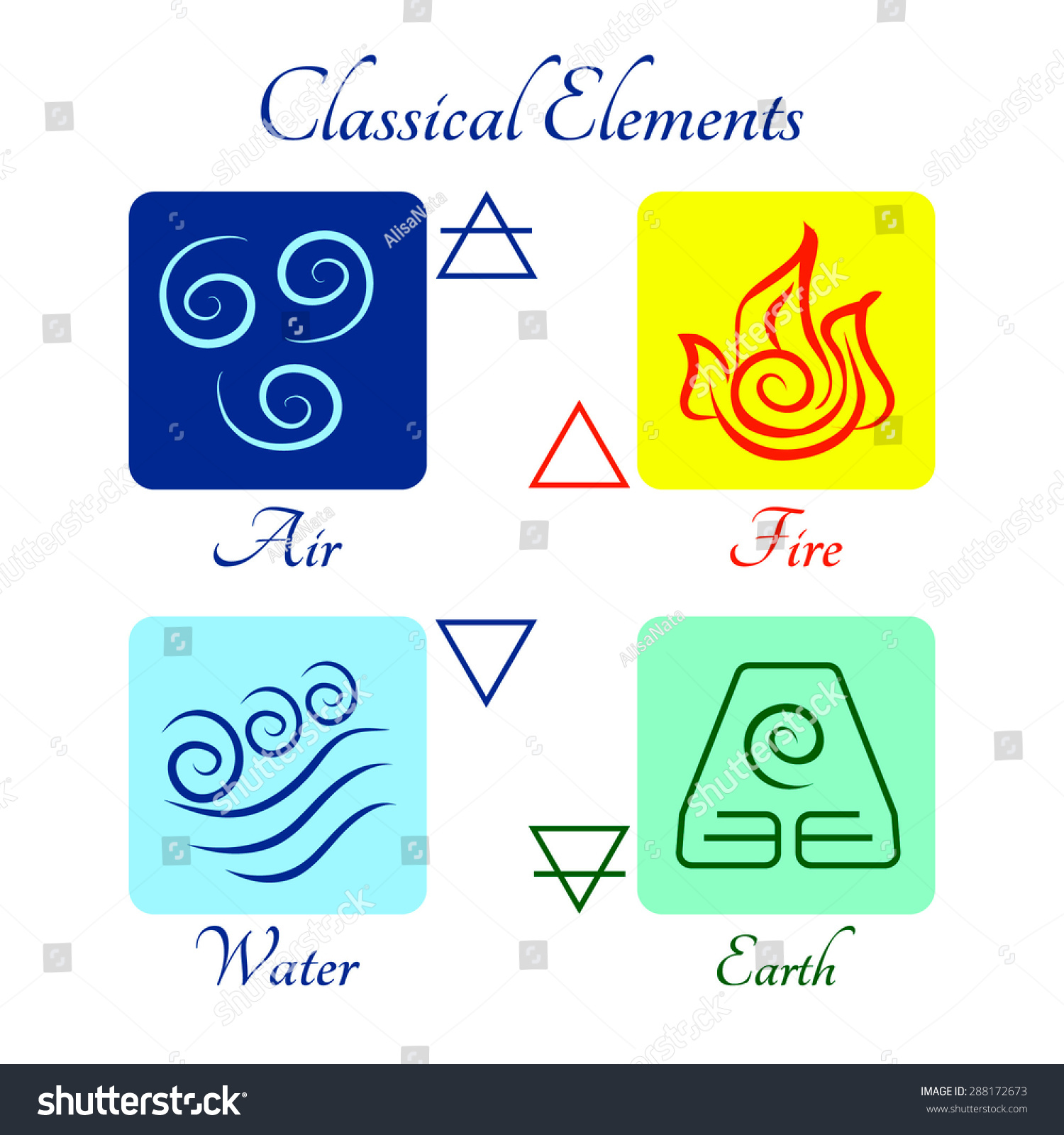 set flat icons classical elements fire stock vector royalty free