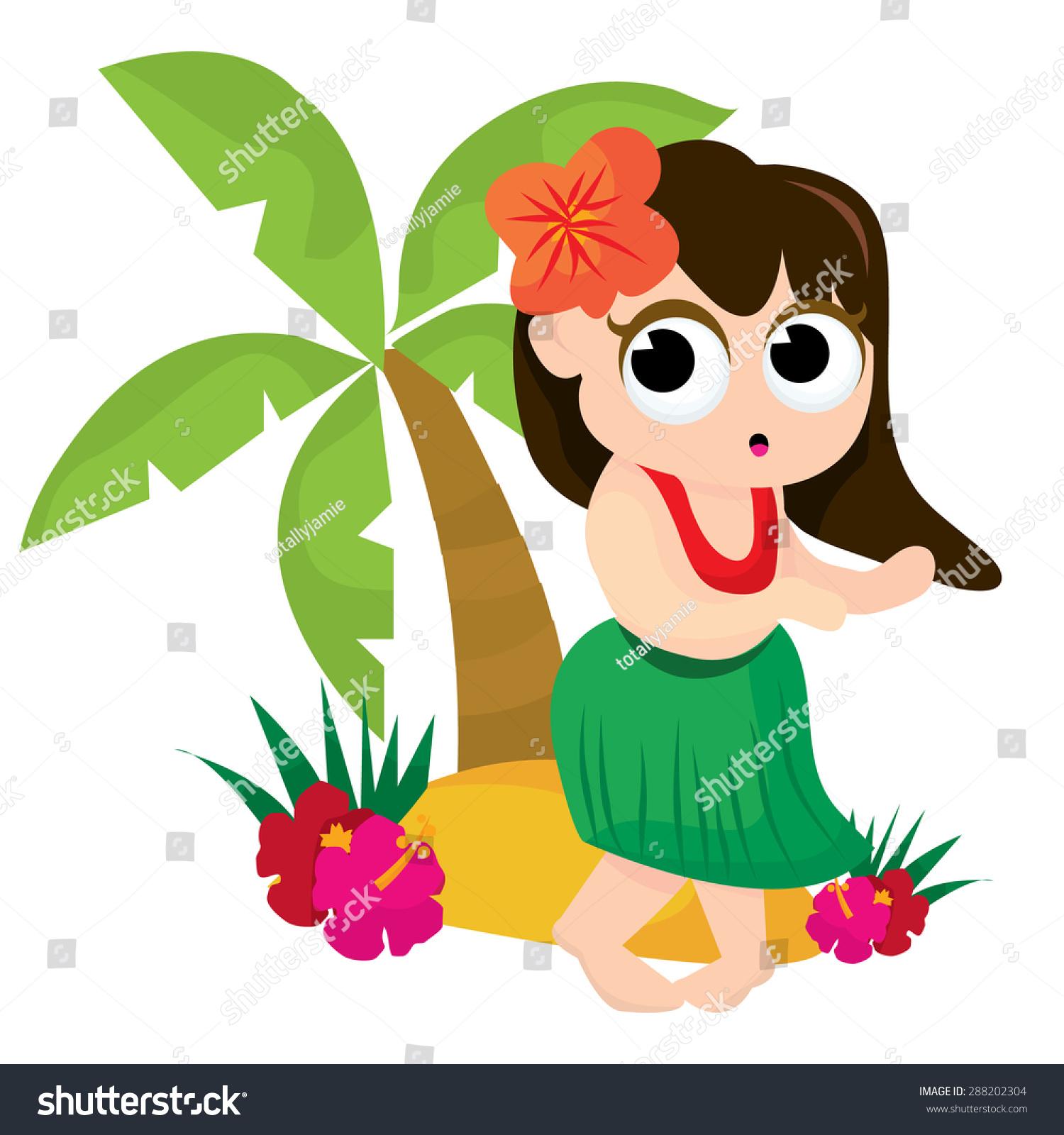cute cartoon hawaiian dancing near stock vector 288202304