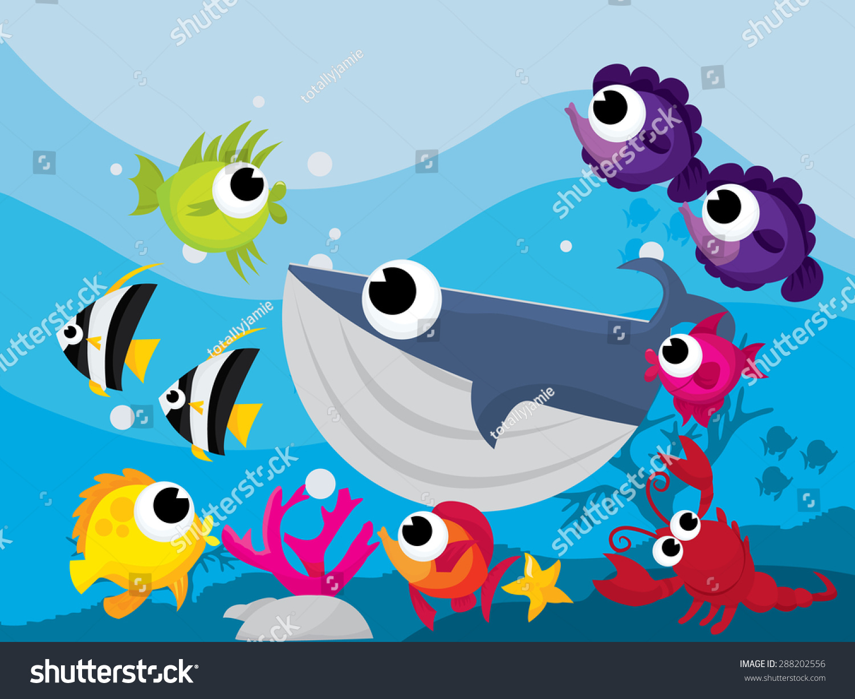 Colorful cartoon sea creatures underwater scene stock vector colorful cartoon sea creatures in underwater scene vector illustration voltagebd Gallery