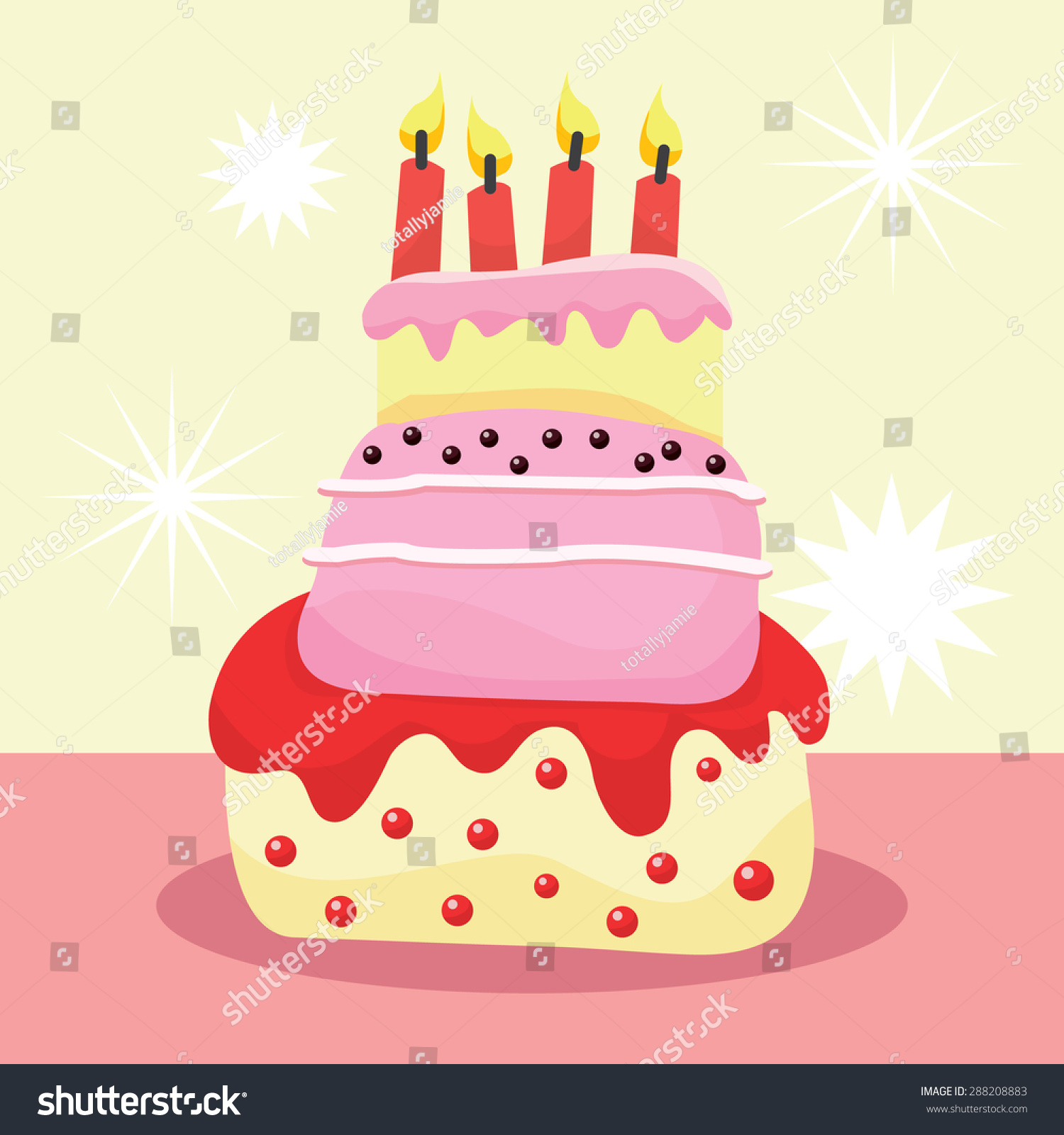 A Vector Illustration Of A Whimsical Three Tier Birthday Cake With