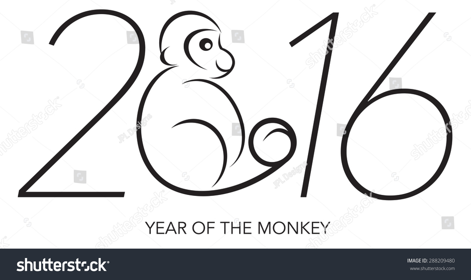 Line Art Year : Chines lunar new year monkey stock illustration