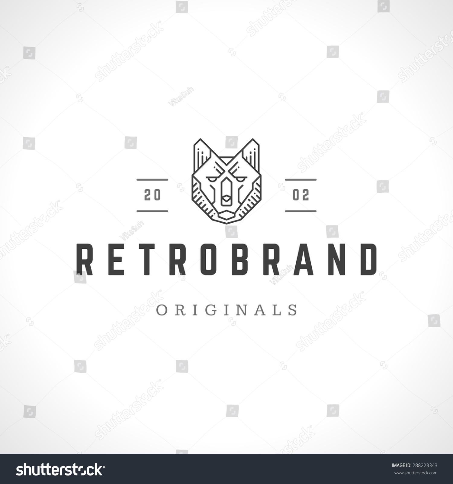 wolf face logo line art emblem stock vector royalty free 288223343