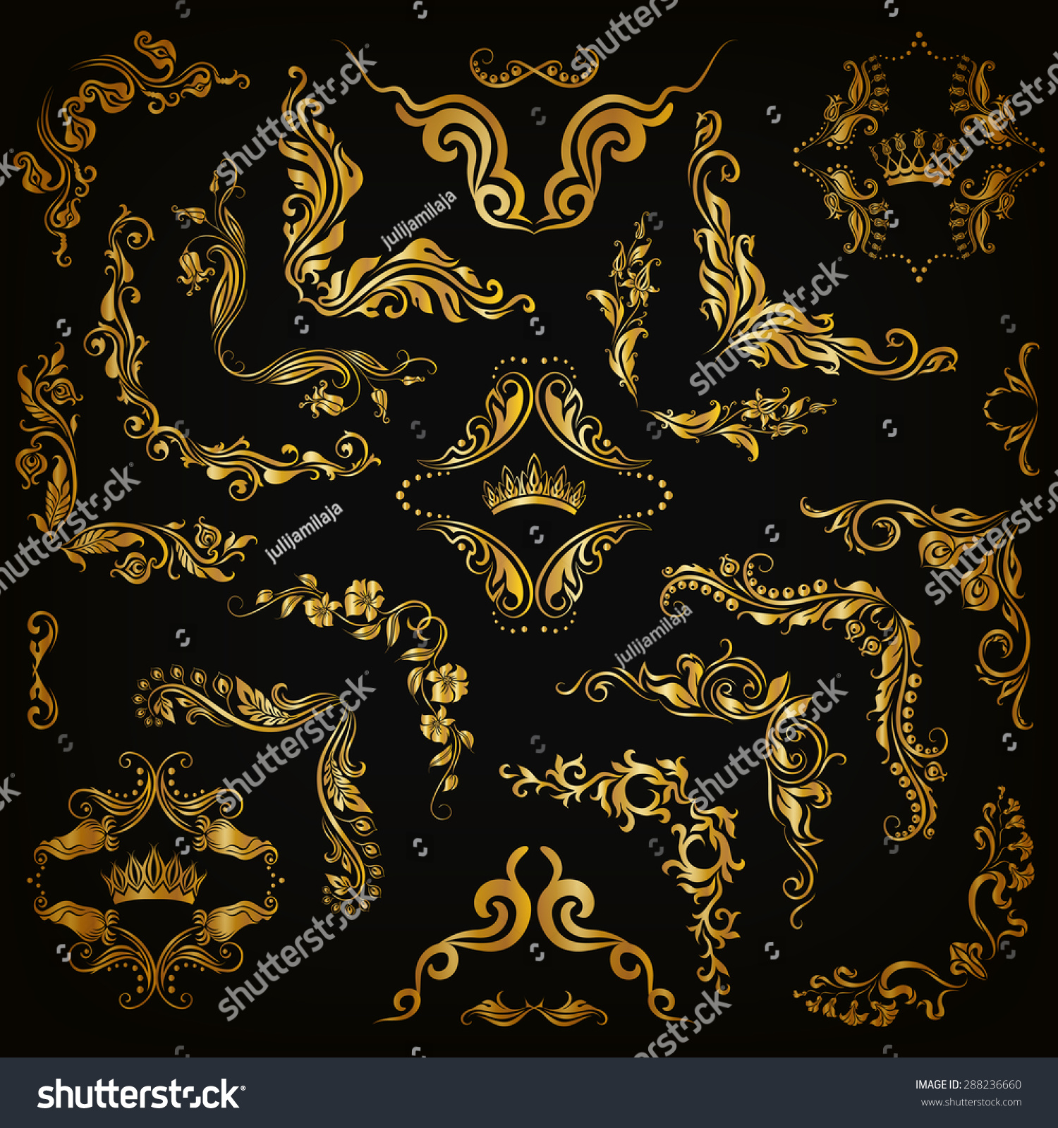 Decorative Black Flower Border Stock Image: Vector Set Gold Decorative Handdrawn Floral Stock Vector