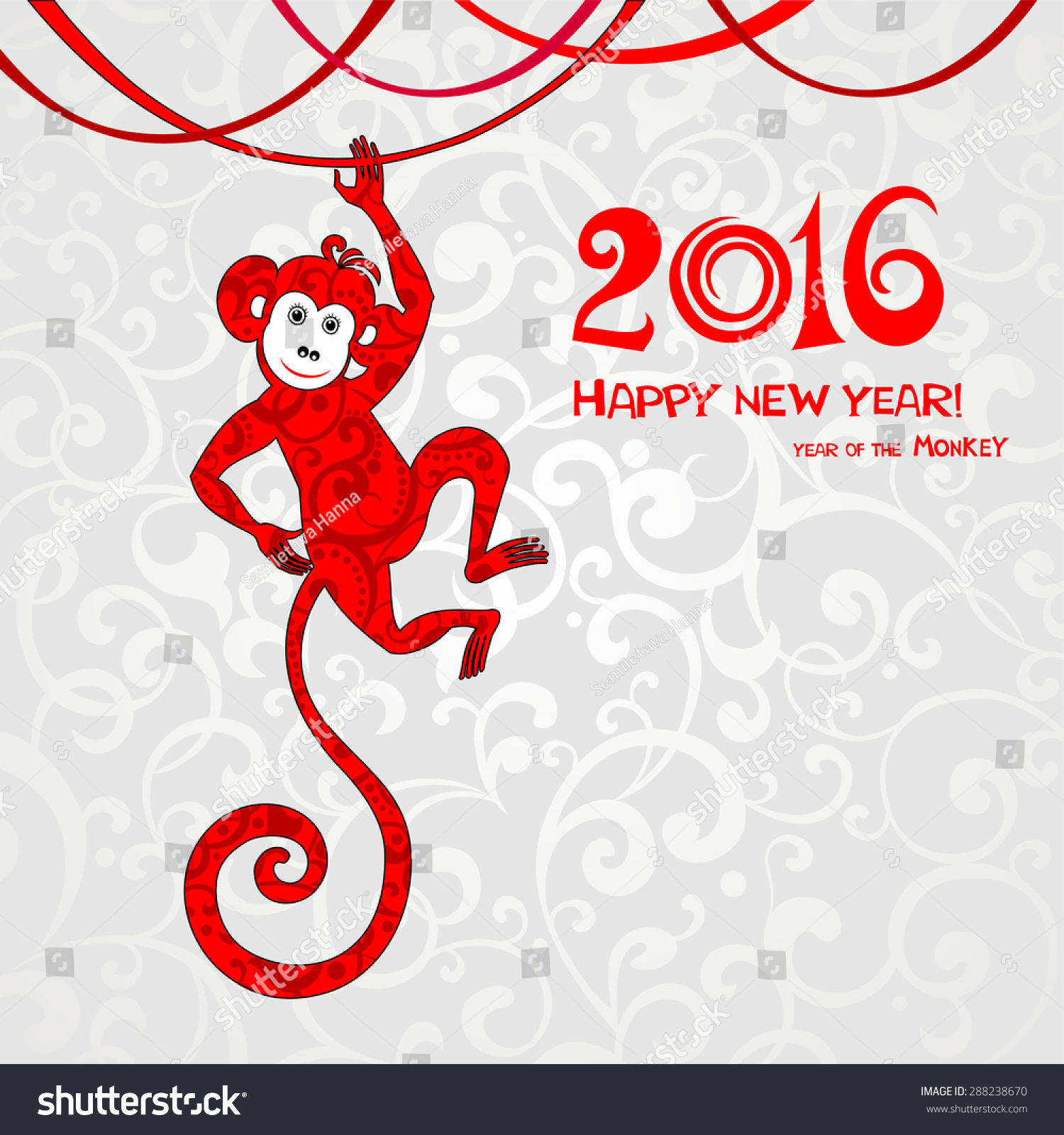 Happy new year 2016 Year Of The Monkey Vector Illustration