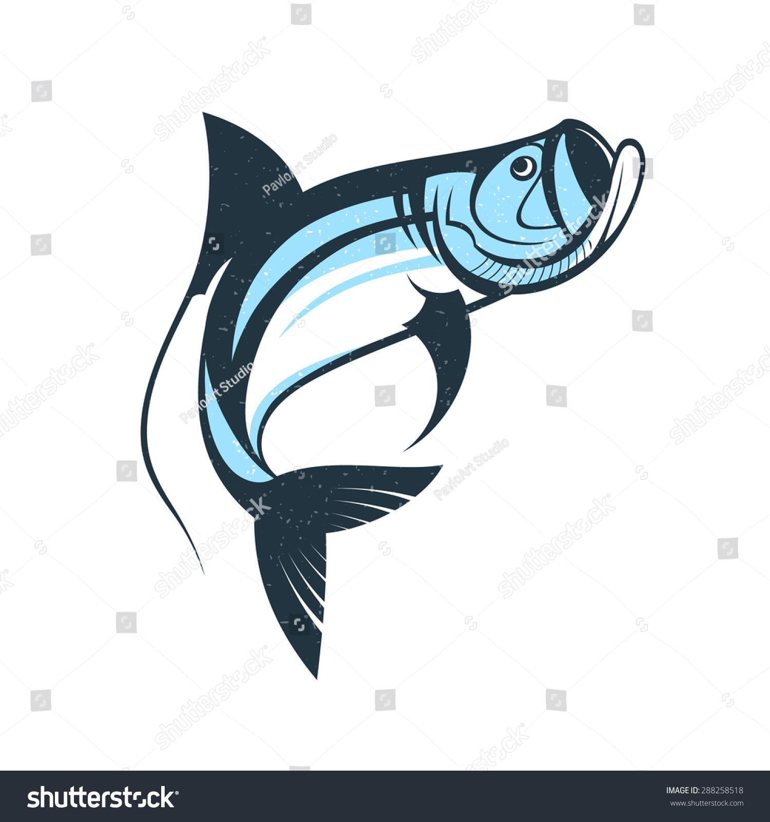 Stock Vector Jumping Tarpon Fish Logo Template Vector Illustration