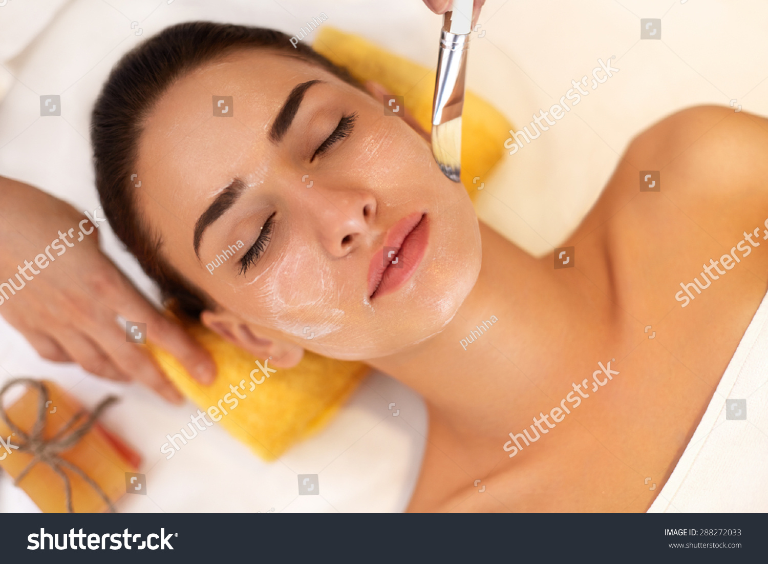 Face treatment woman beauty salon gets stock photo for A trial beauty treatment salon