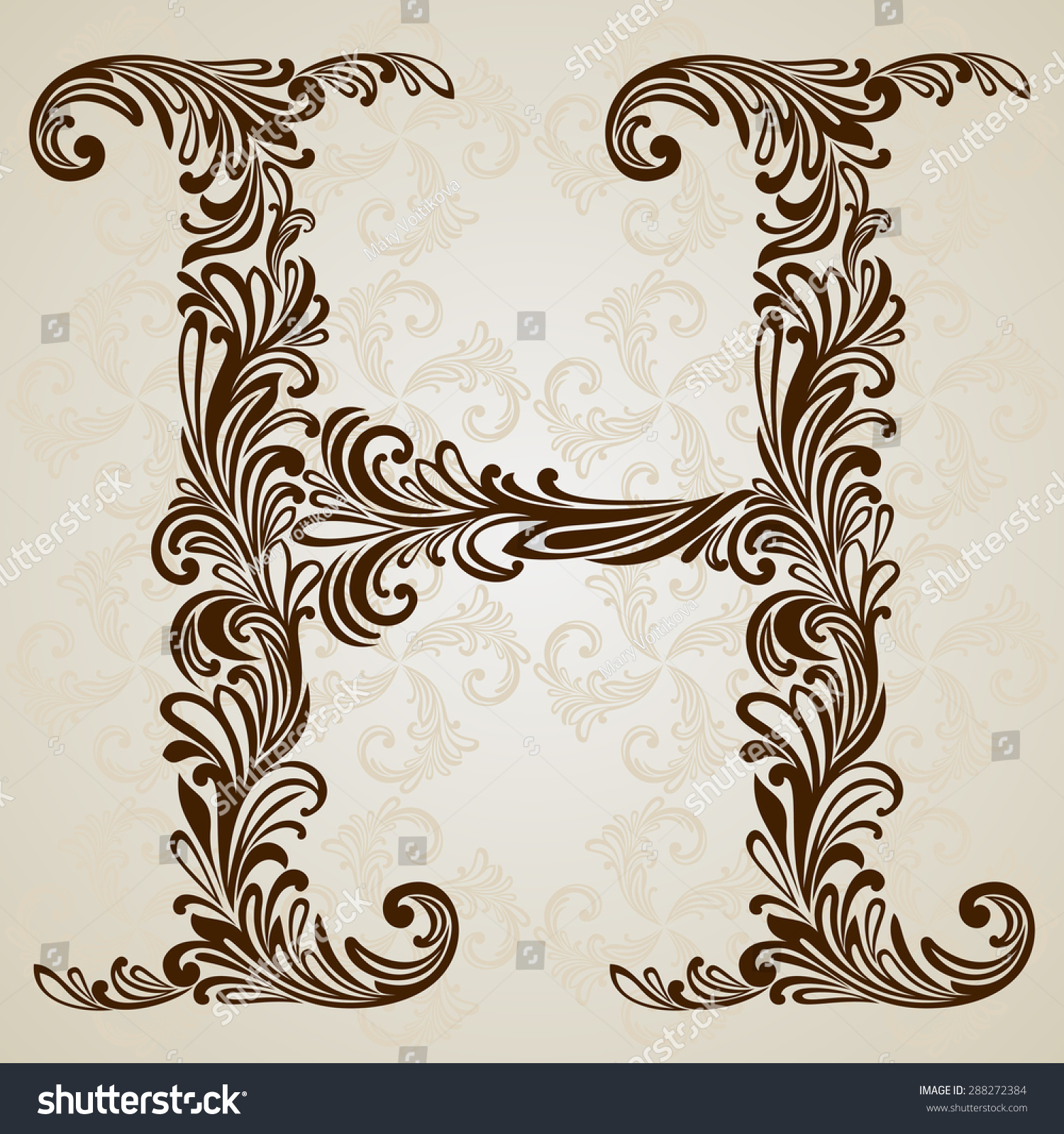 Calligraphic font vintage initials letter h vector design background