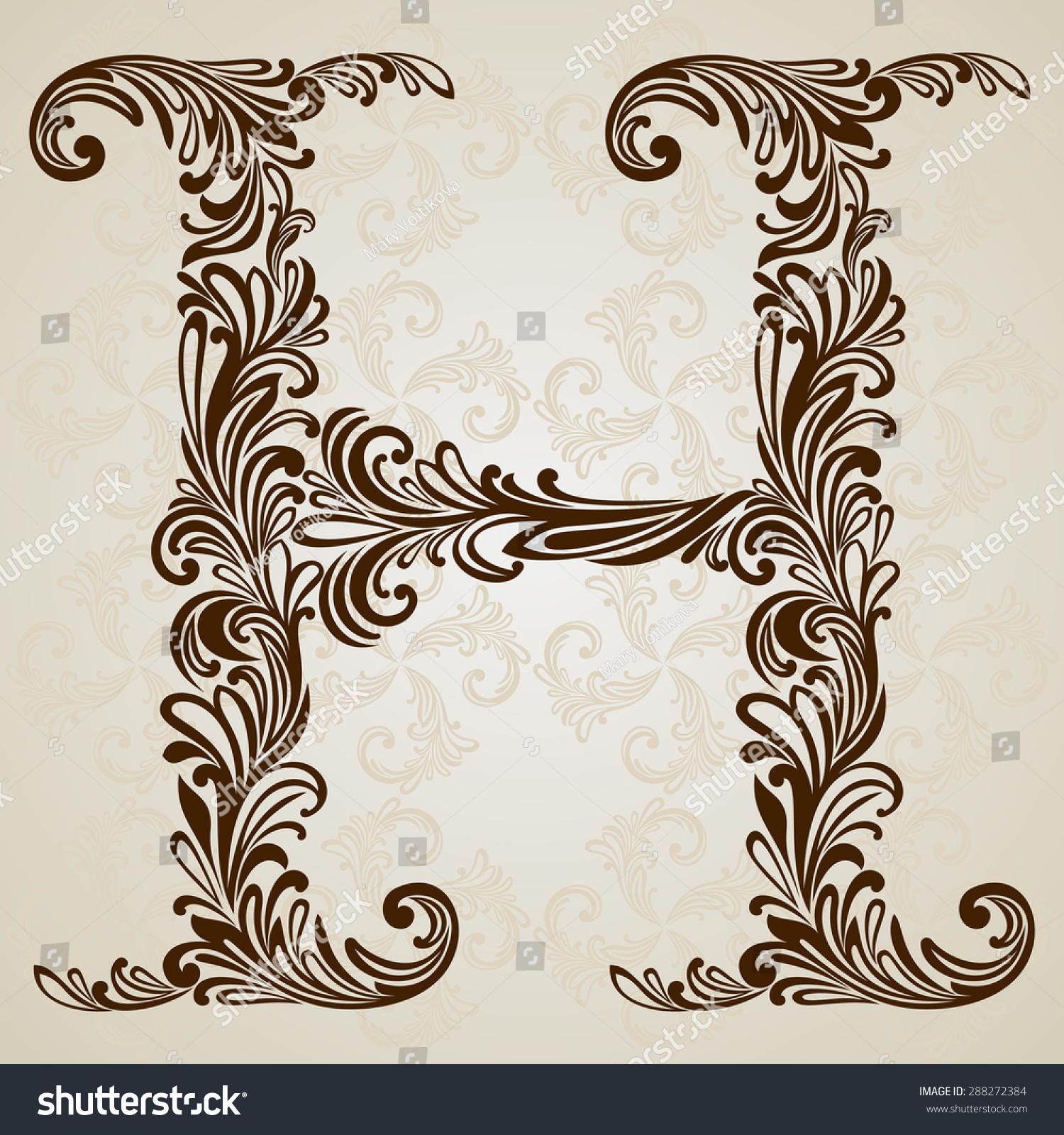 Calligraphic Font Vintage Initials Letter H Vector Design Background Swirl Style Illustration