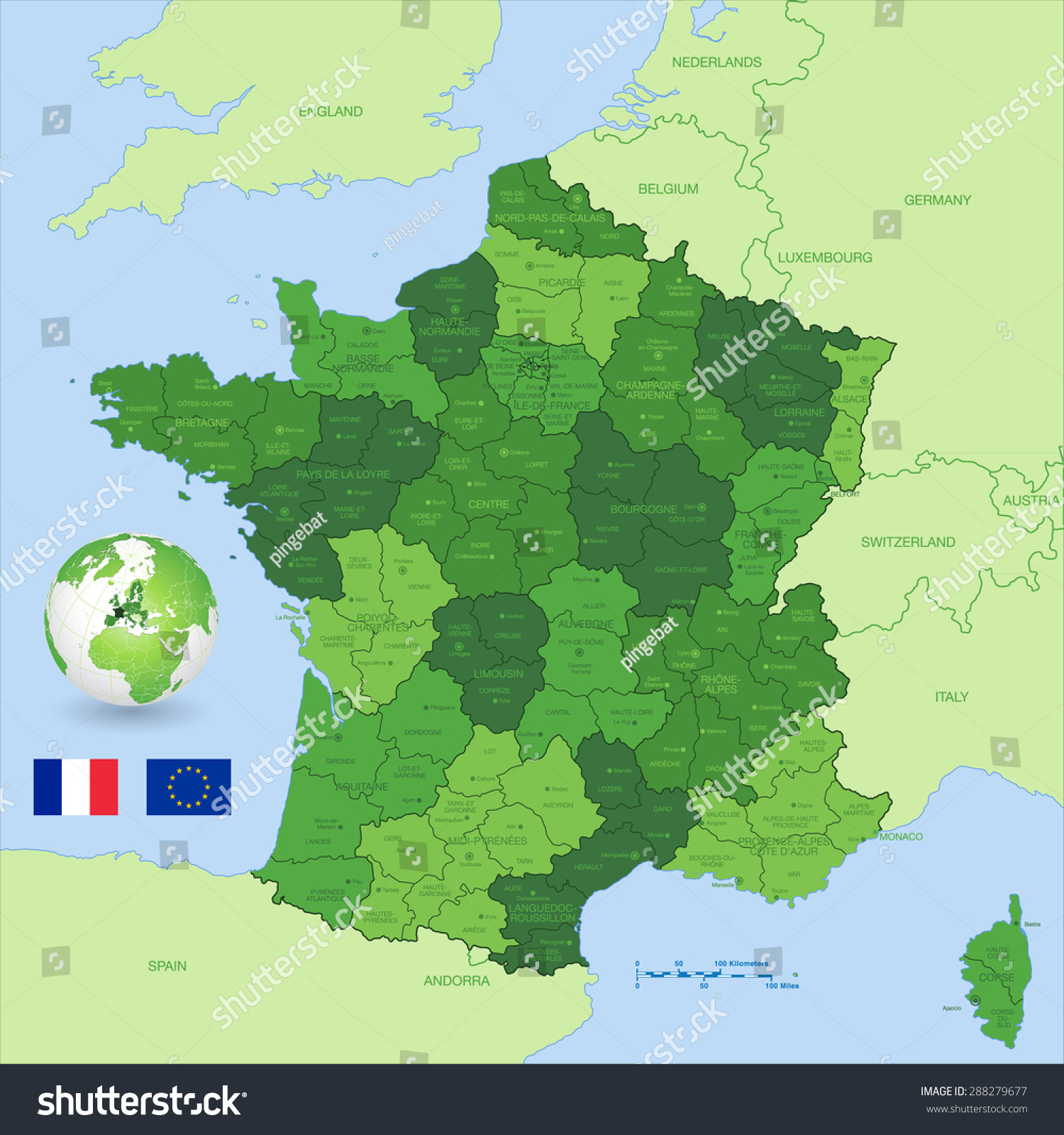 Green High Detail Vector Map France Stock Vector HD Royalty Free