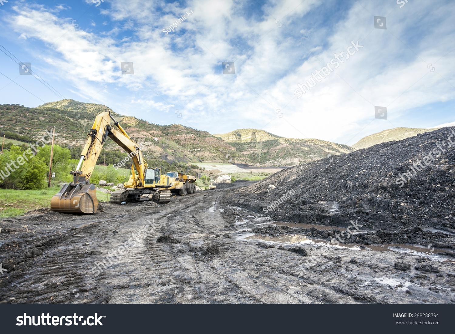 Mining machines infrastructure and coal in mountainous mine