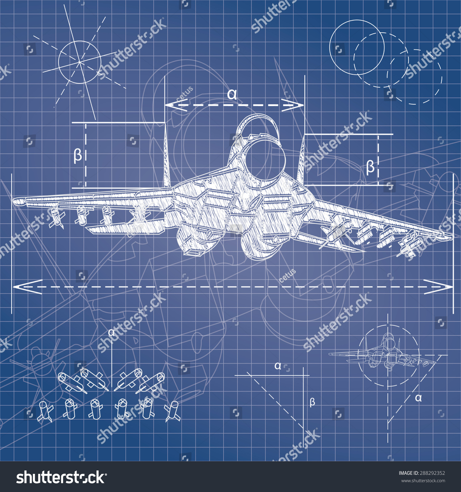 military aircraft blueprint stock vector 288292352 shutterstock