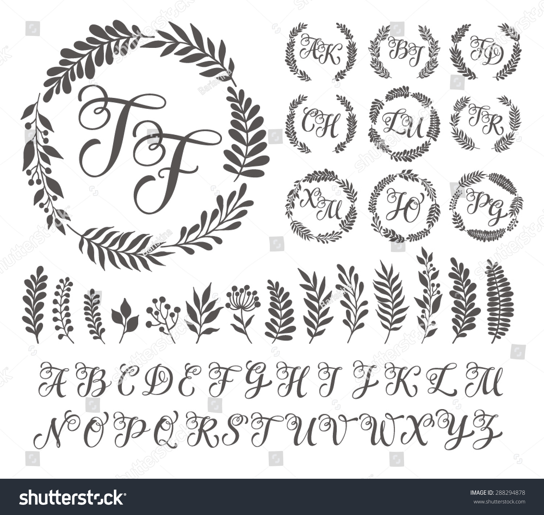 vector illustration vintage monogram set design เวกเตอร สต อก