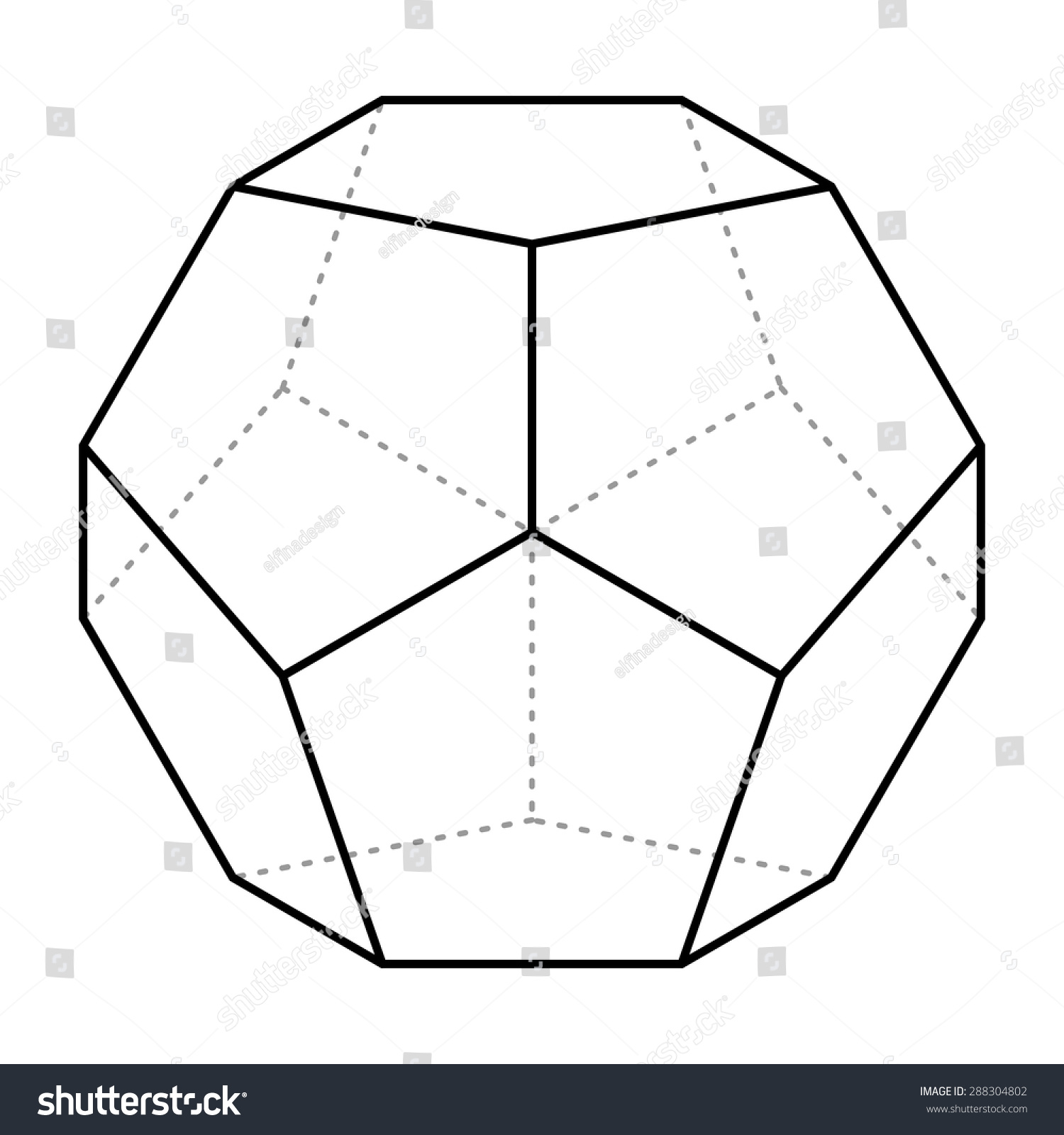 royalty free dodecahedron line drawing vector 288304802 stock