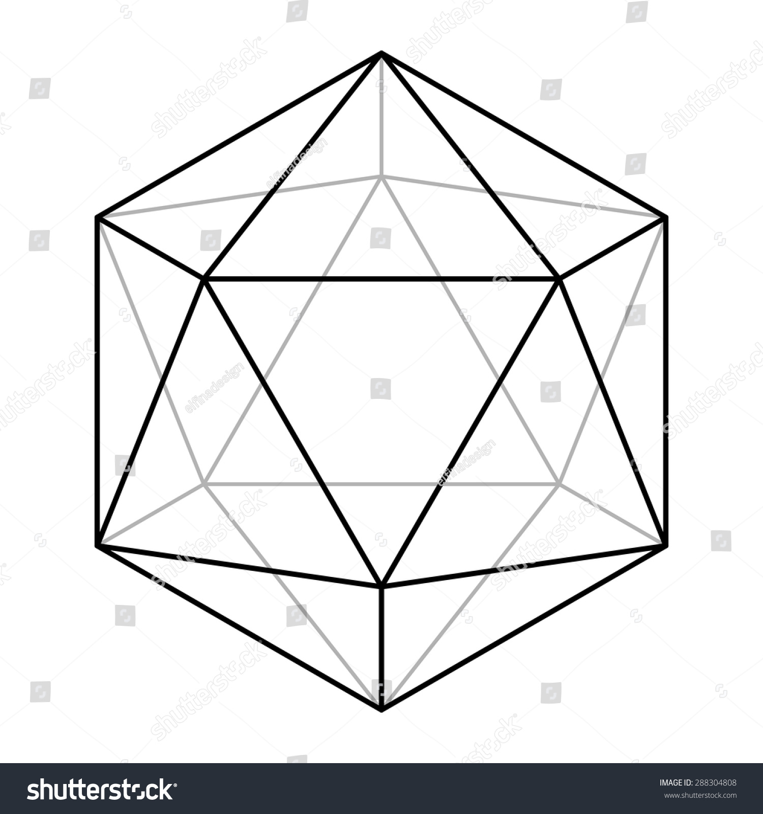 Icosahedron Line Drawing Sacred Geometry Platonic Solid Logo Design Vector Illustration