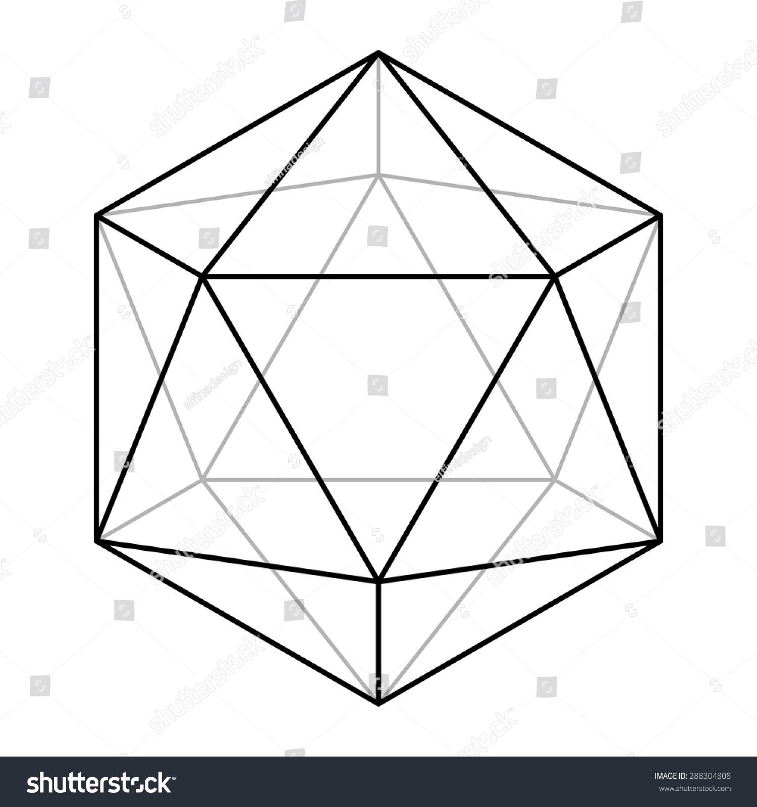 Simple Geometric Line Art : Icosahedron line drawing sacred geometry platonic stock