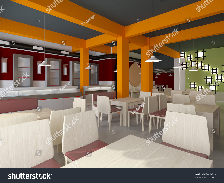 D rendering fast food restaurant interior stock