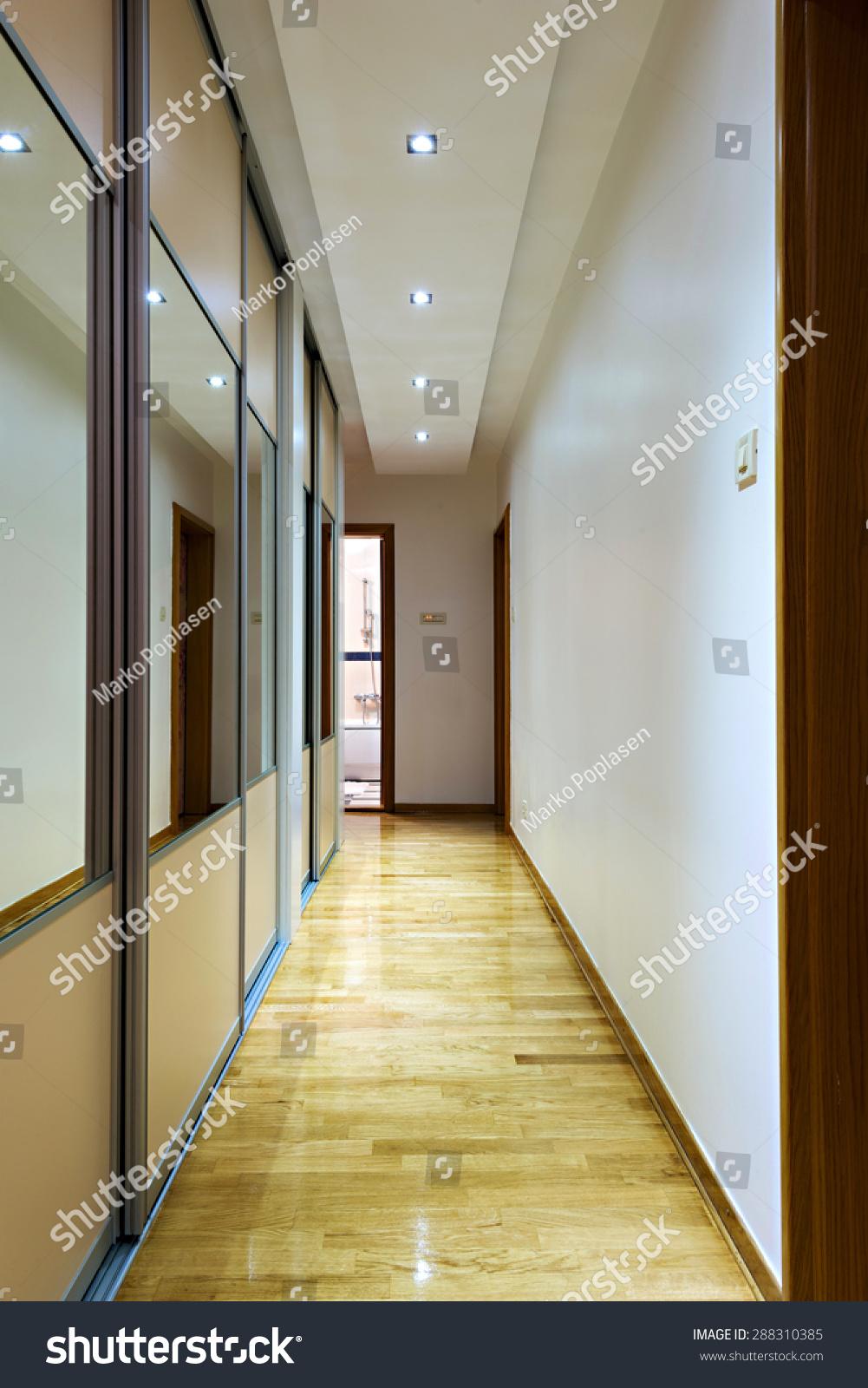 Indoor House Corridor With Closet With Sliding Doors