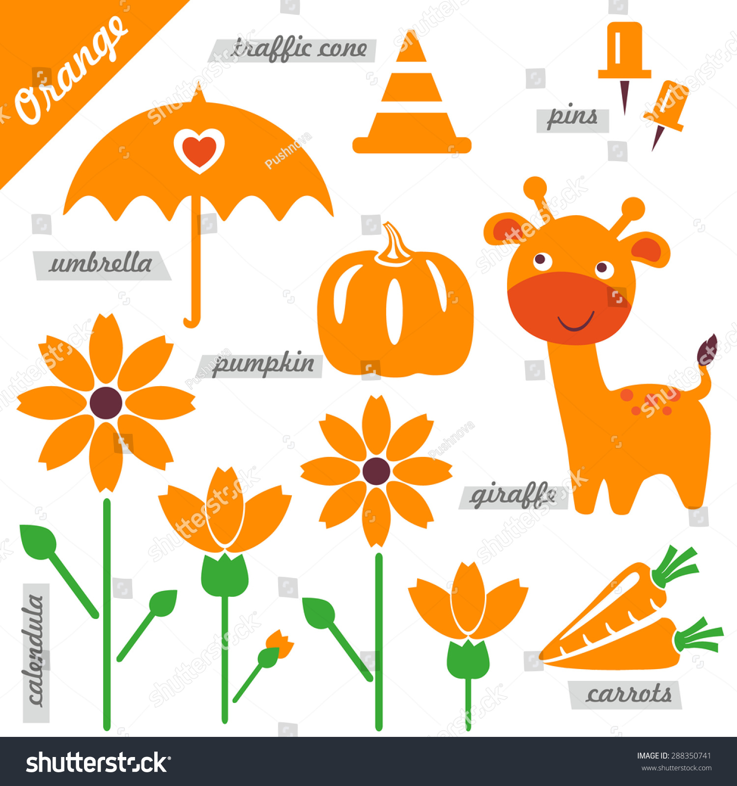 Set images examples orange color kids stock vector for Orange colour things
