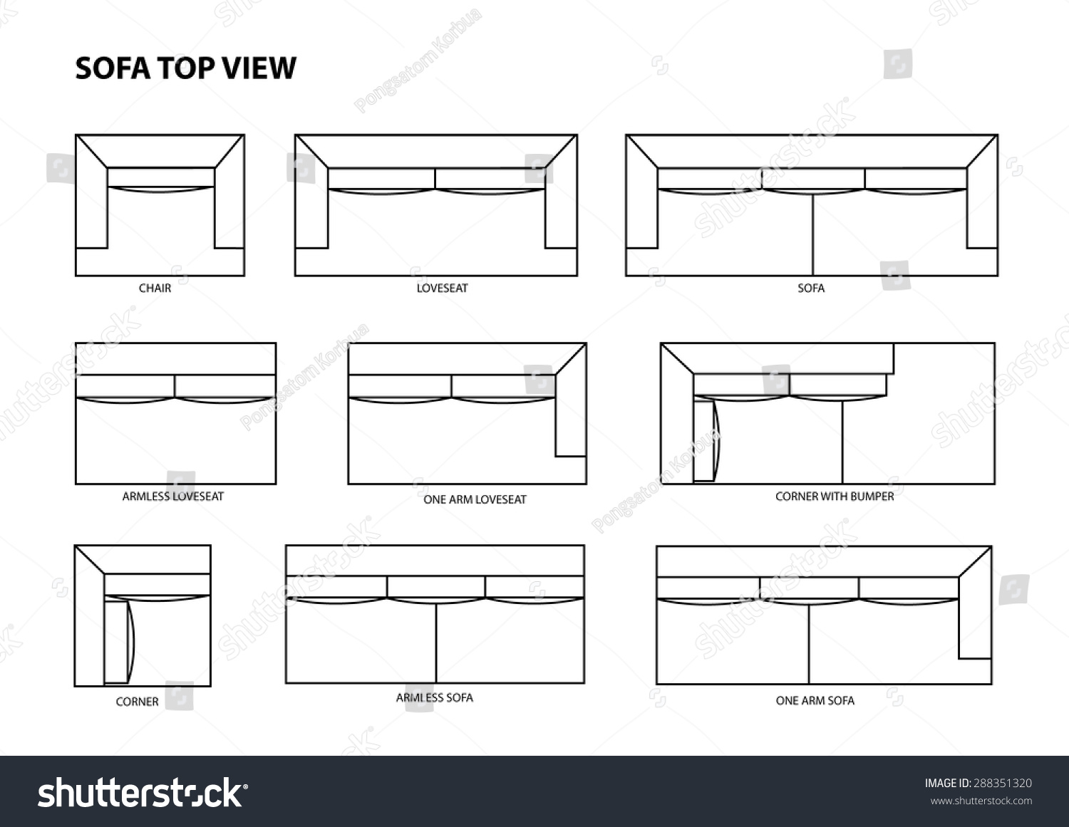 Sofa Top View Vector Stock Photo 288351320 Avopix Com