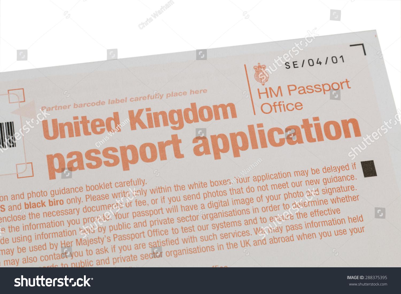 Uk passport application form isolated on stock photo 288375395 uk passport application form isolated on white background falaconquin