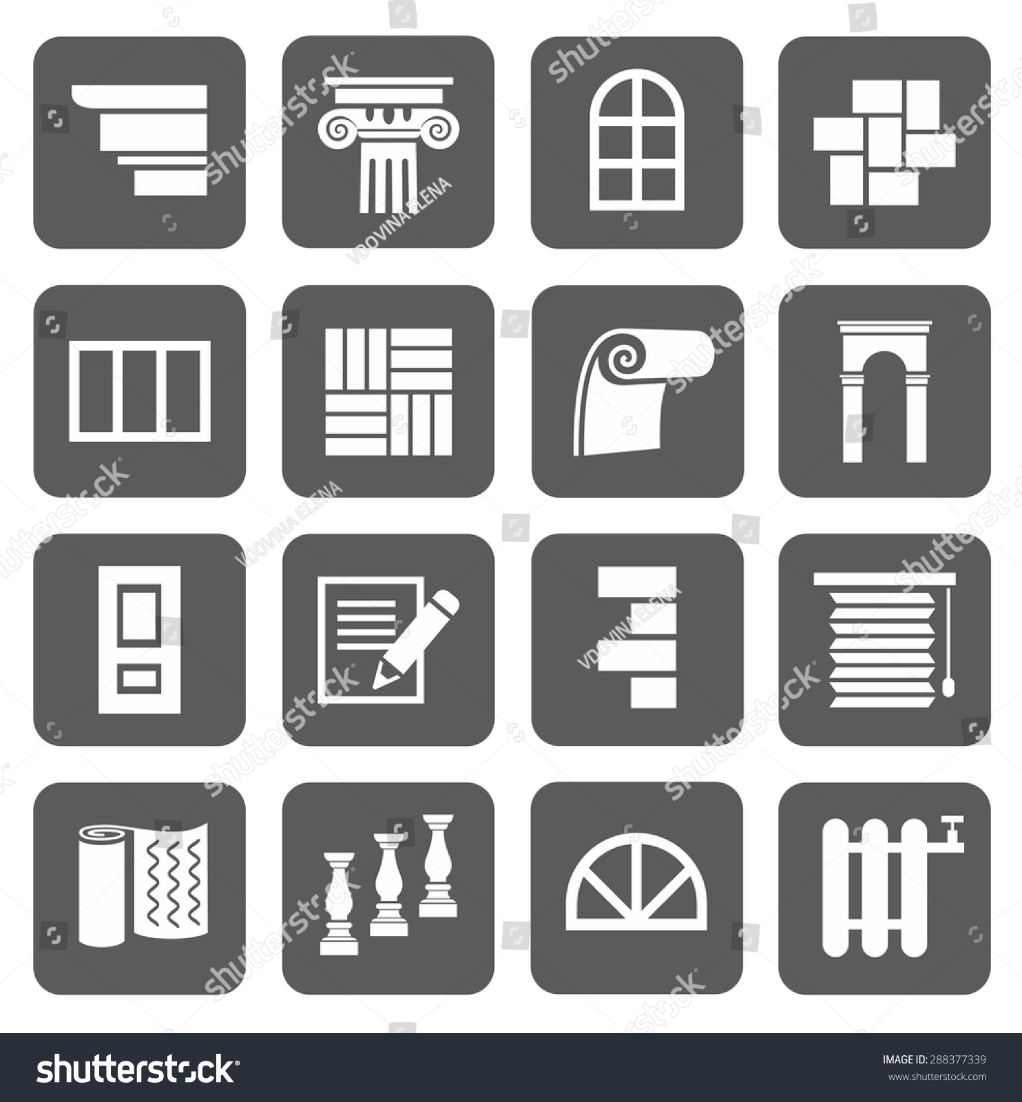 Icons flat construction finishing materials repair stock vector the icons are flat construction finishing materials repair monochrome icons with symbols of buycottarizona Choice Image
