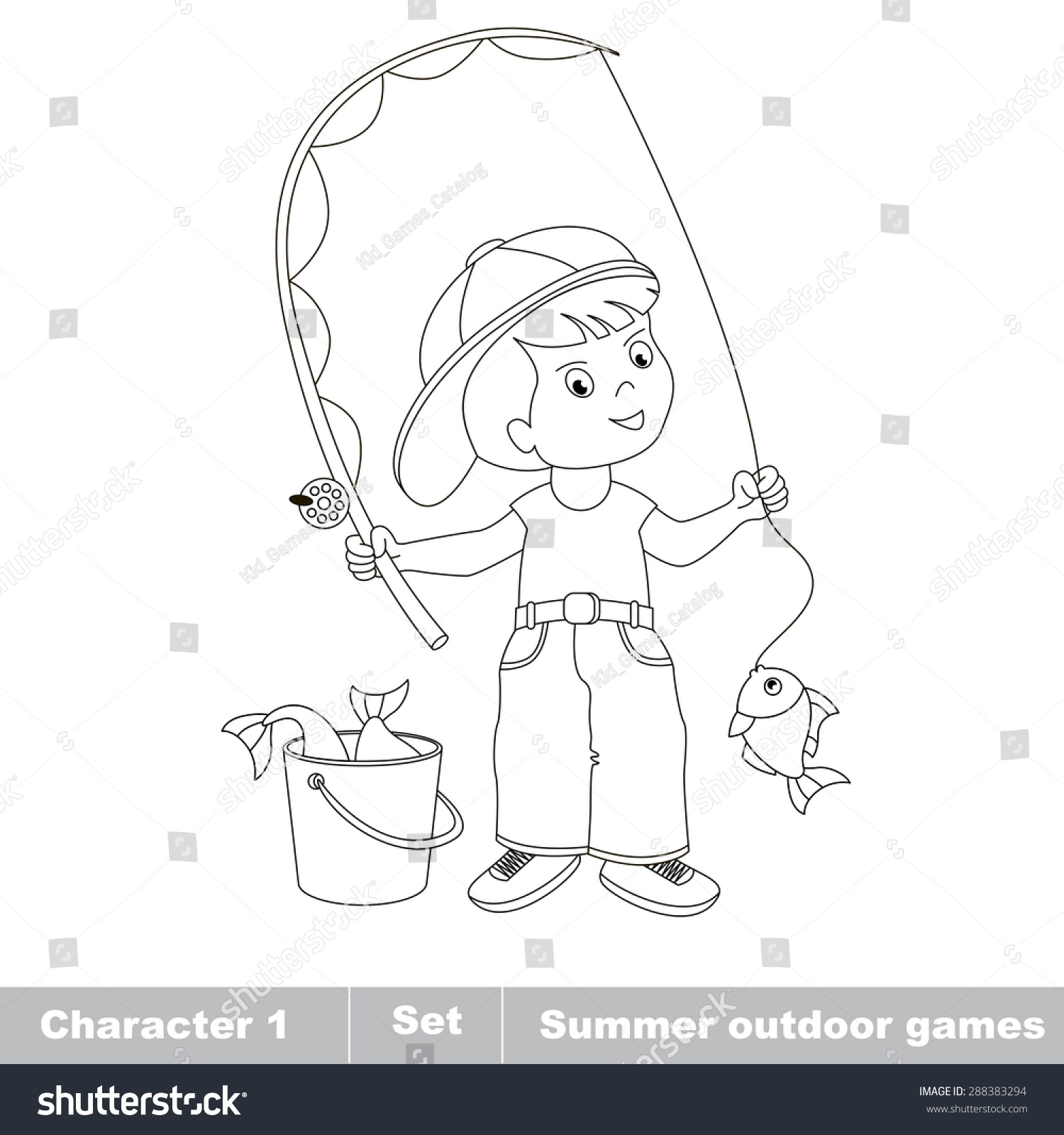 one boy young fisherman cap caught stock vector 288383294