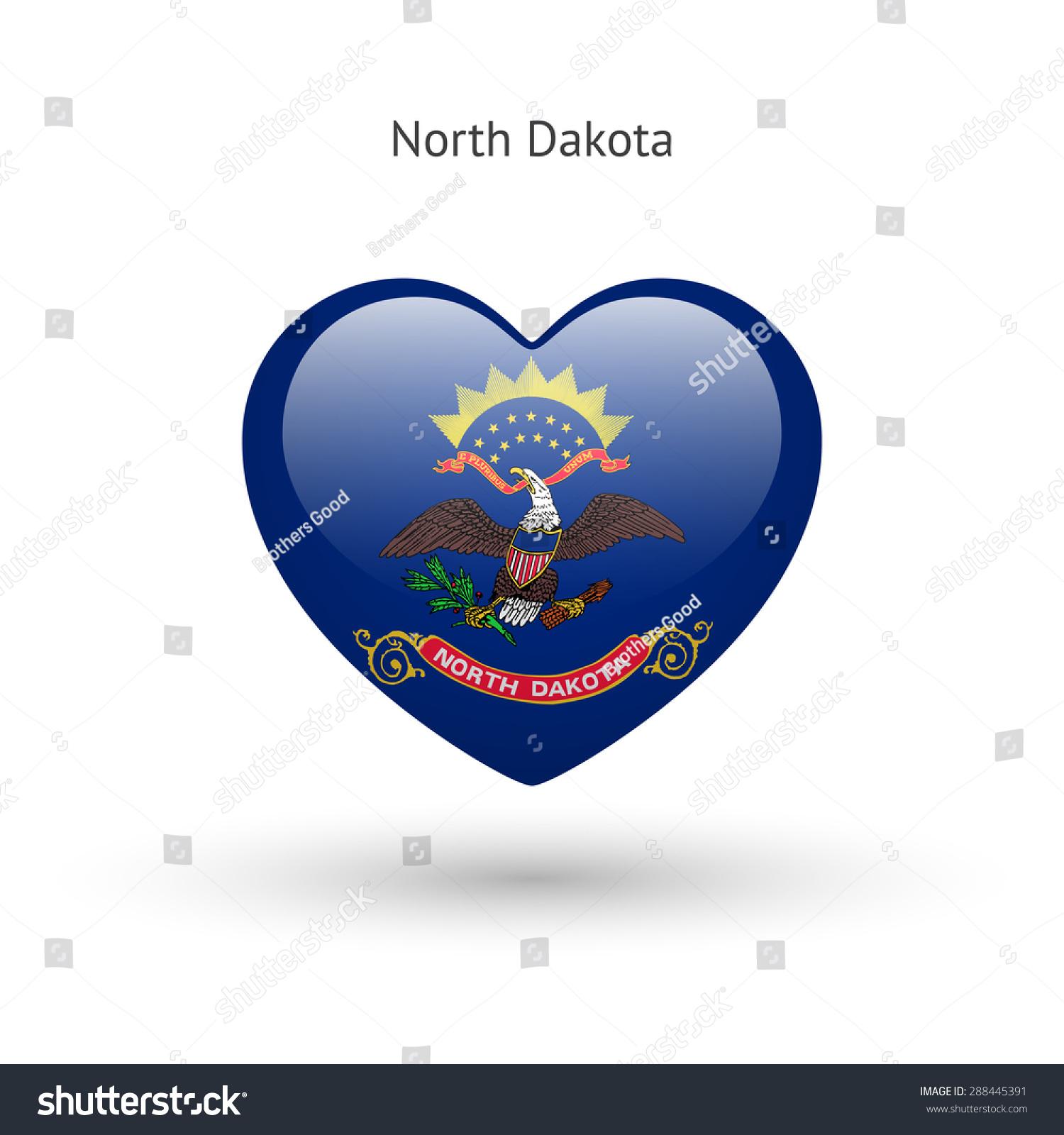 Love North Dakota State Symbol Heart Stock Vector Royalty Free