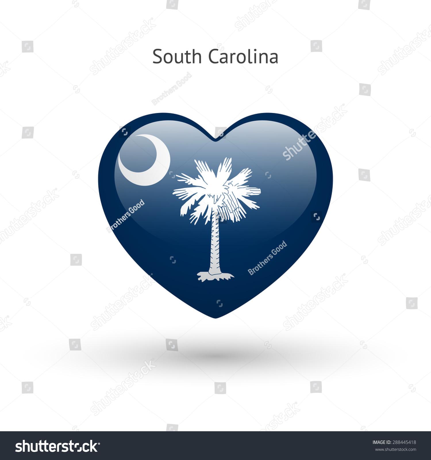 Love South Carolina State Symbol Heart Stock Vector Royalty Free