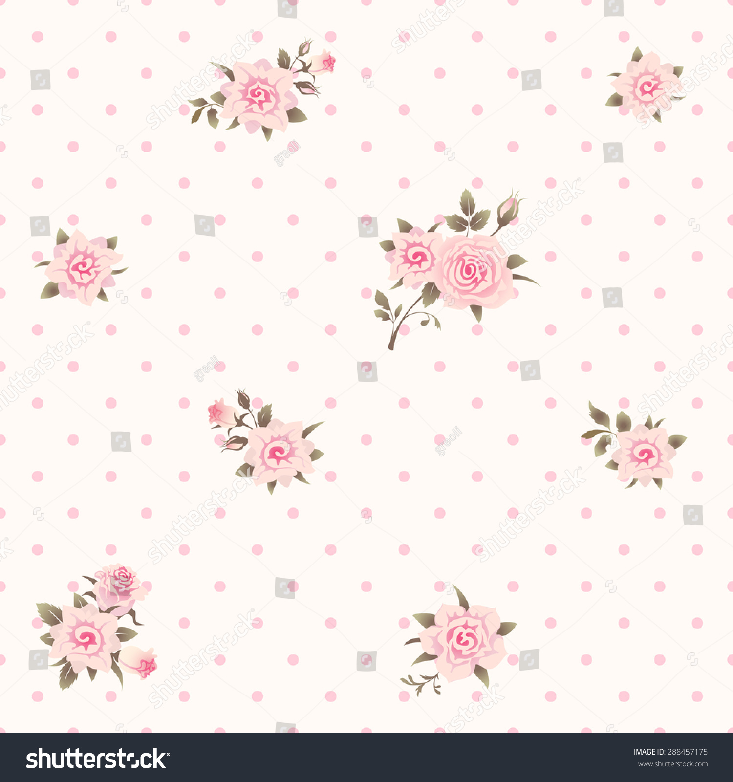 Seamless Floral Polka Dot Background Shabby Chic Style Pattern With Pink Roses