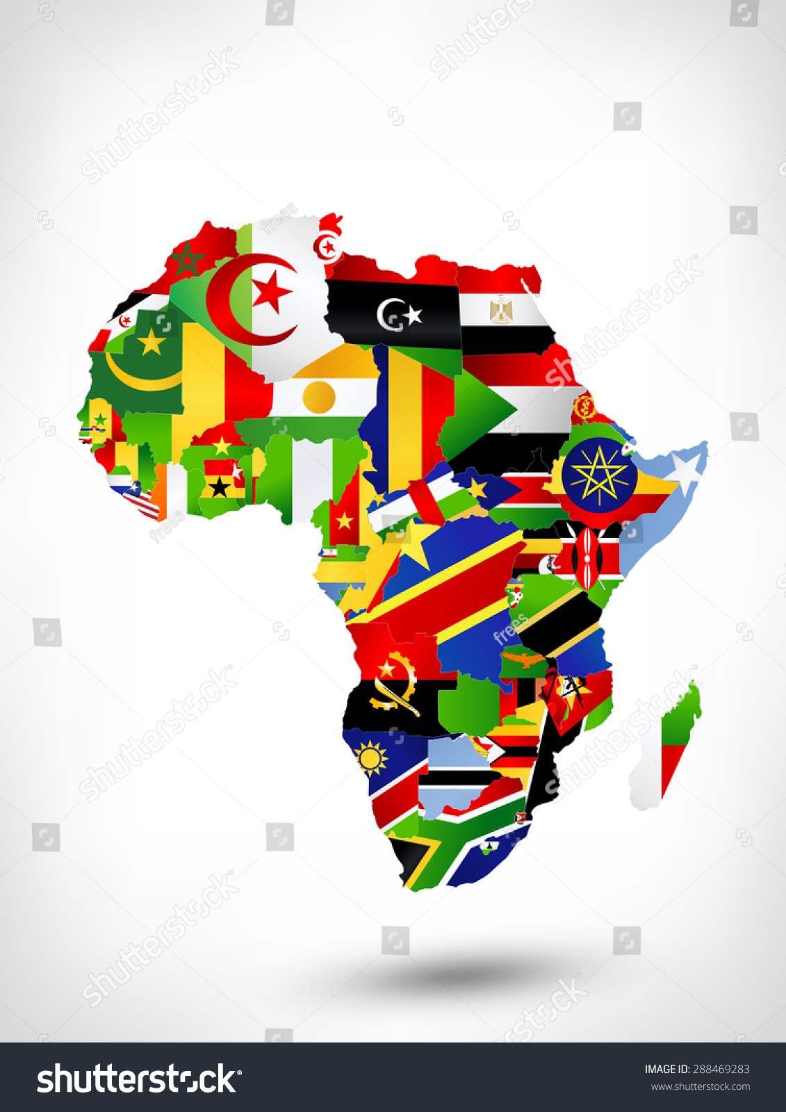 Map Of Africa With Flags.Map Africa Flags Location On World Stock Illustration 288469283