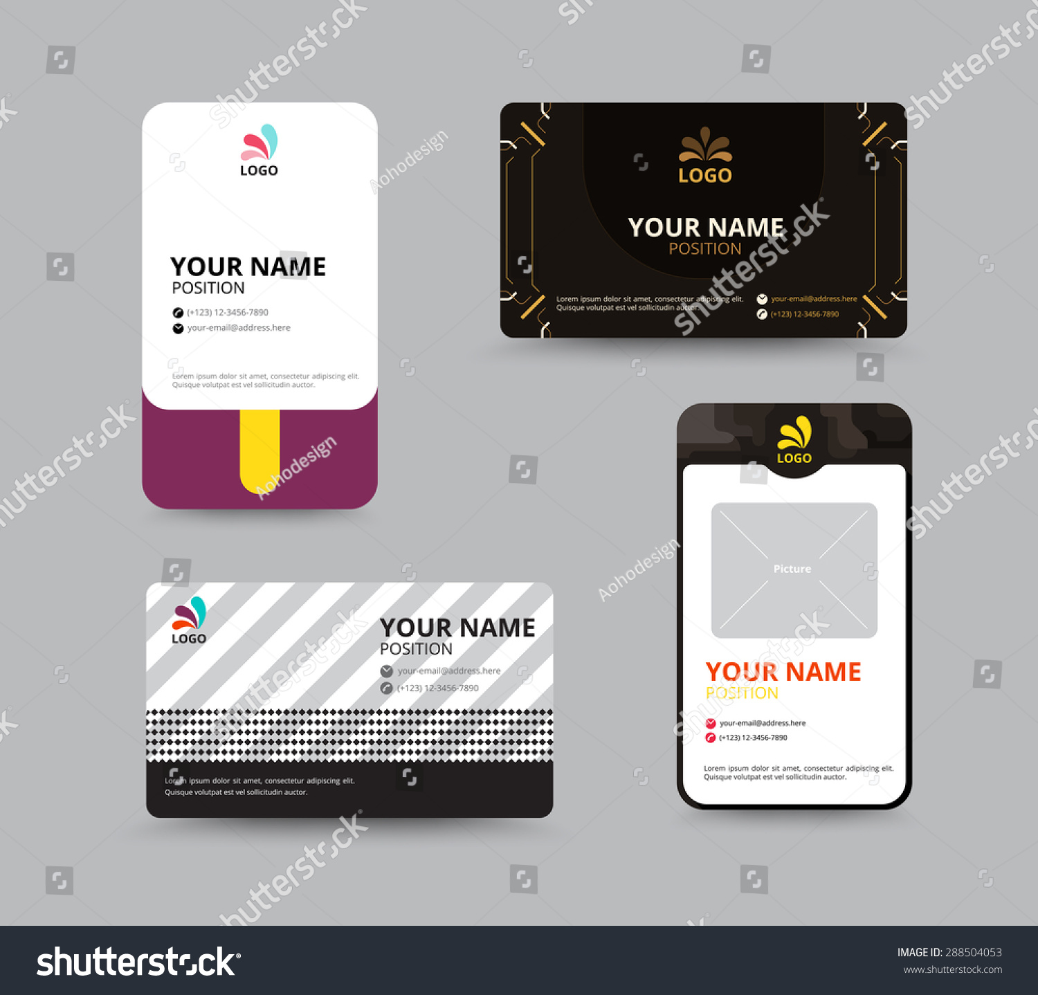 Business Card Template Name Card Design Vector 288504053 – Sample of Name Card