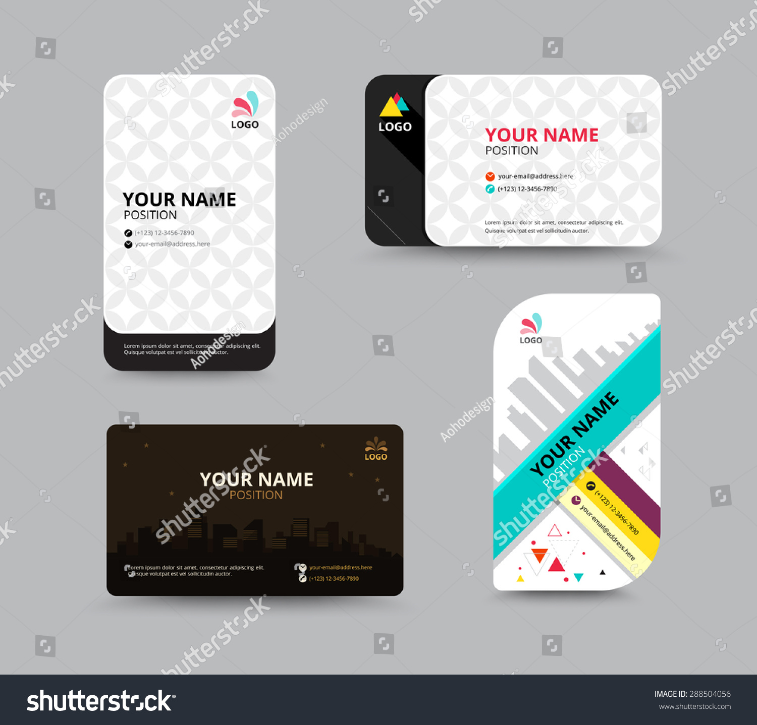 Business Card Template Name Card Design Stock Vector 288504056 ...