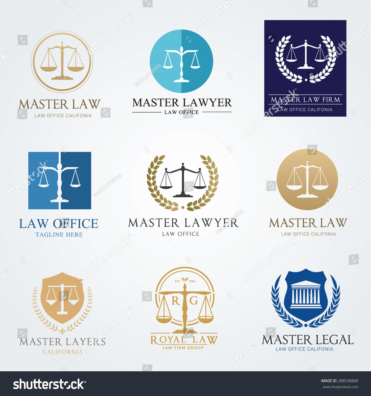 Law office logo collection The judge Law firm logo template lawyer set of vintage labels full vector logo and easy to edit able