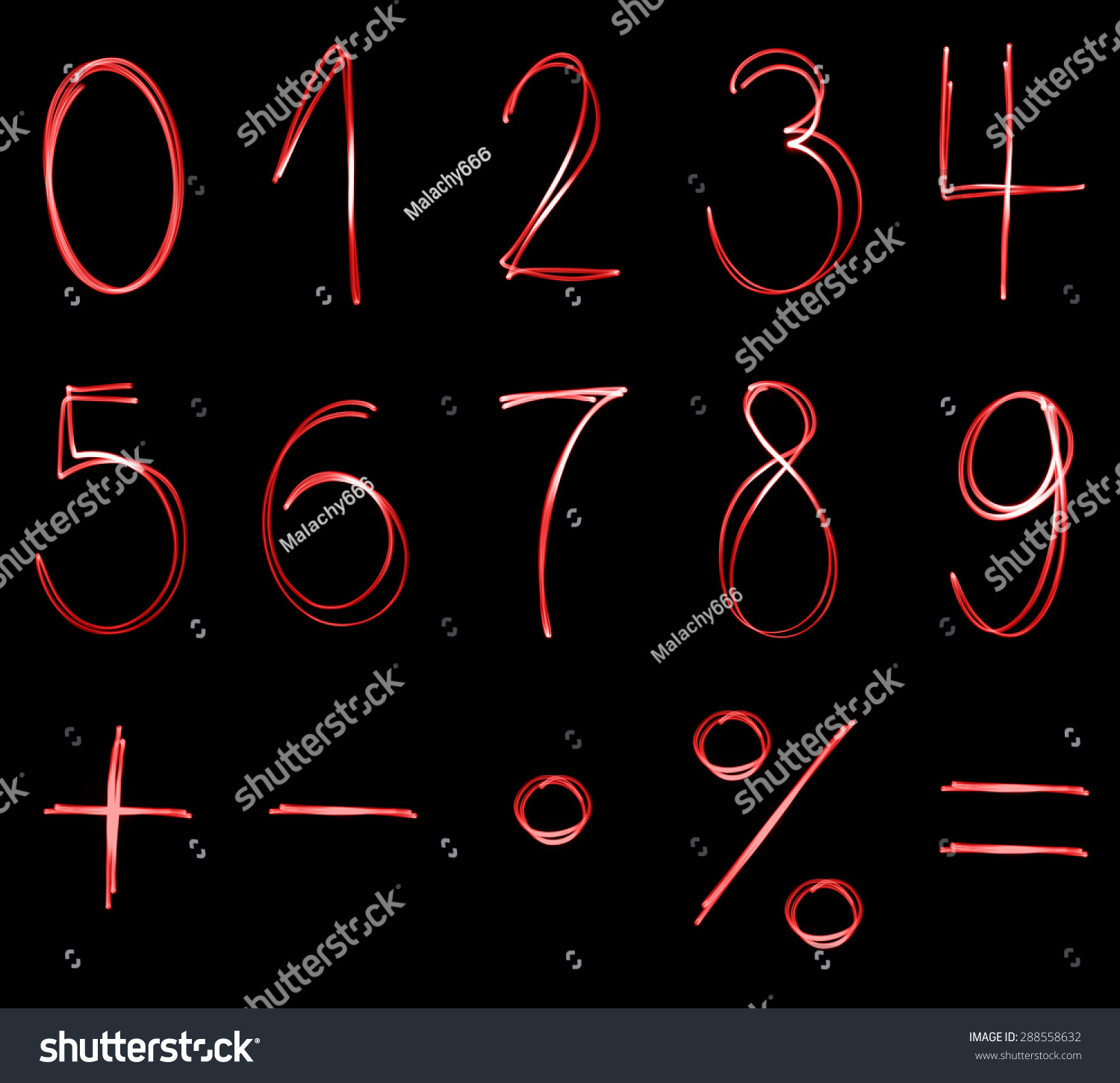 Different flourescent numbers math symbols red stock photo different flourescent numbers and math symbols in red neon color buycottarizona