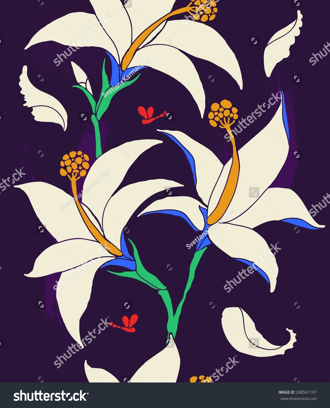 Vertical border lilies white flowers on stock vector royalty free the vertical border of lilies white flowers on a dark background izmirmasajfo