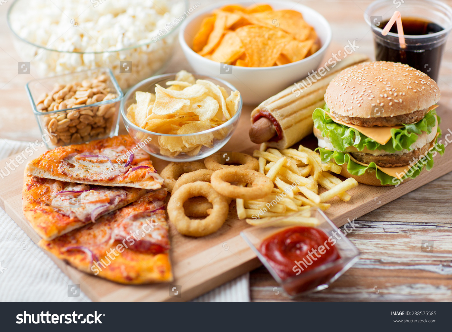 fast food unhealthy eating concept close stock photo 288575585 shutterstock. Black Bedroom Furniture Sets. Home Design Ideas