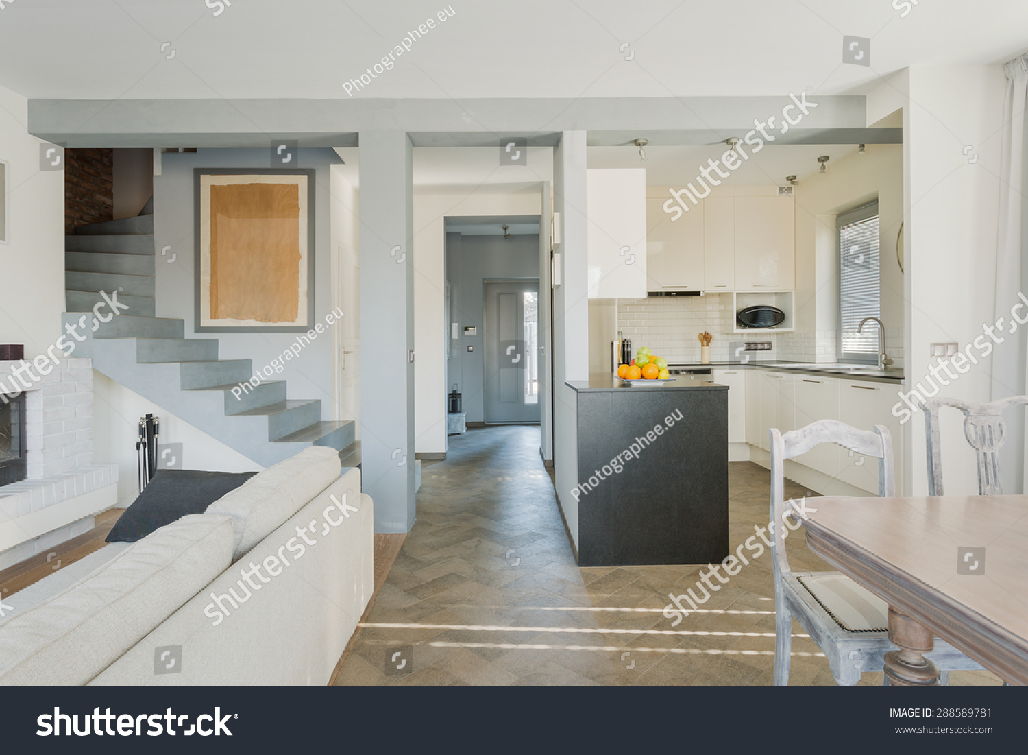 Stylish Lounge Connected Modern Open Kitchen Stock Photo (Royalty ...