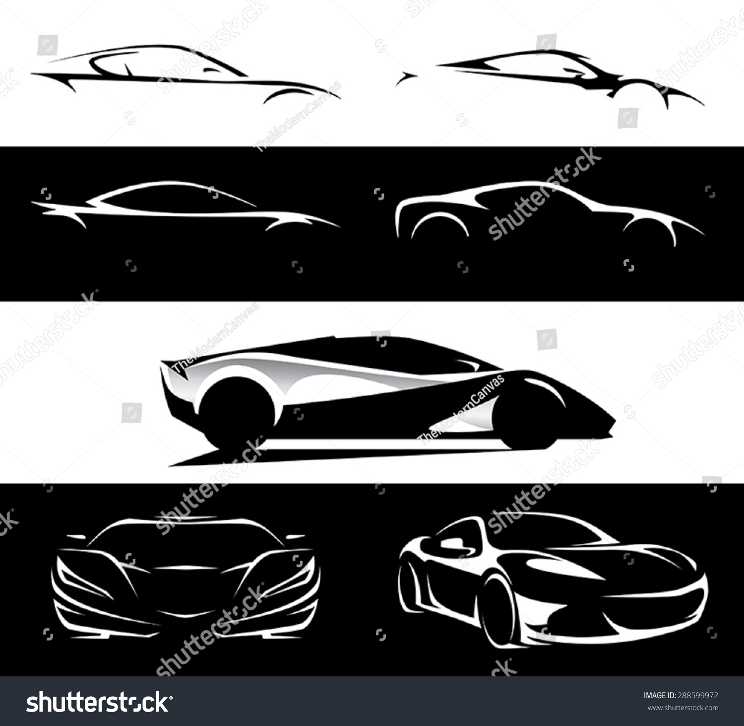 Conceptual Supercar Silhouette Vector Car Illustration Stock