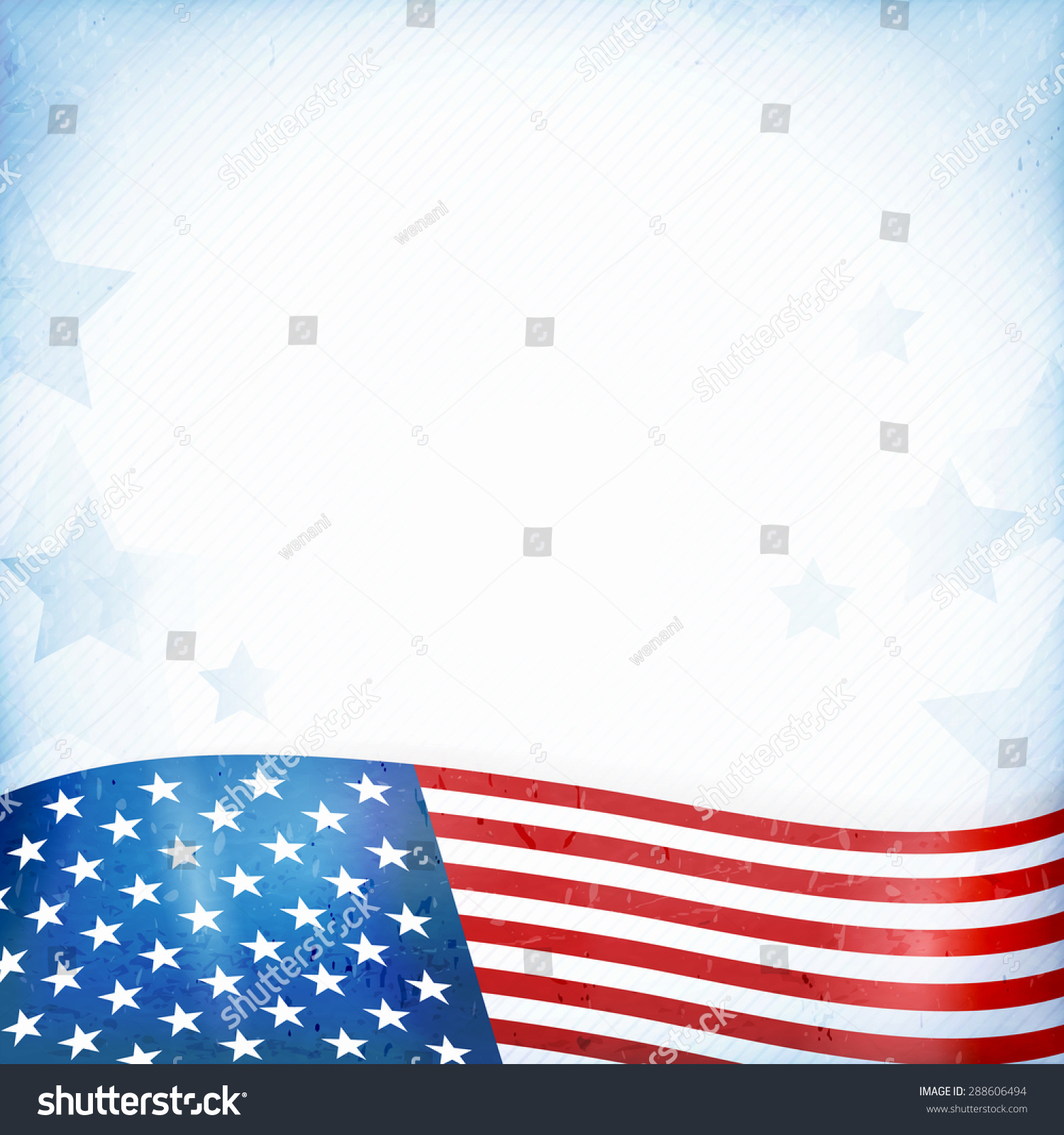 Us American Flag Themed Background Or Card With Wavy Flag At The Bottom Forming A