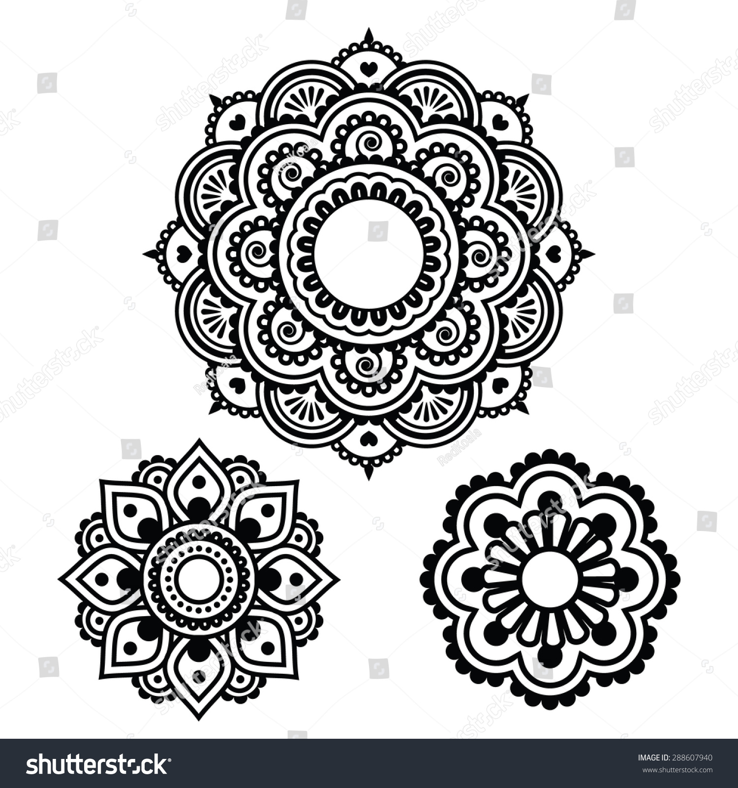 indian henna tattoo round design mehndi stock vector 288607940 shutterstock. Black Bedroom Furniture Sets. Home Design Ideas