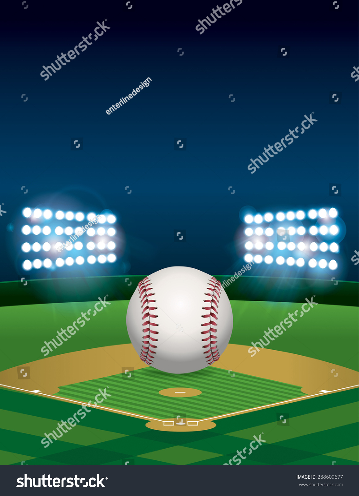 A Baseball Sitting On Lit Stadium Field At Night Vertical Orientation Room