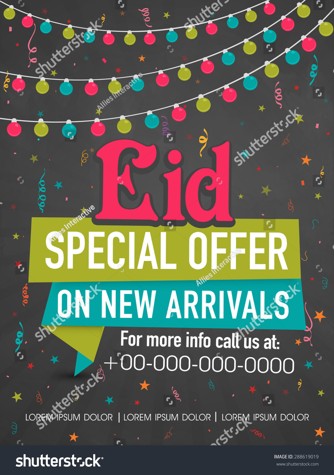 colorful lights stars decorated poster banner stock vector colorful lights and stars decorated poster banner or template for eid special offer on new