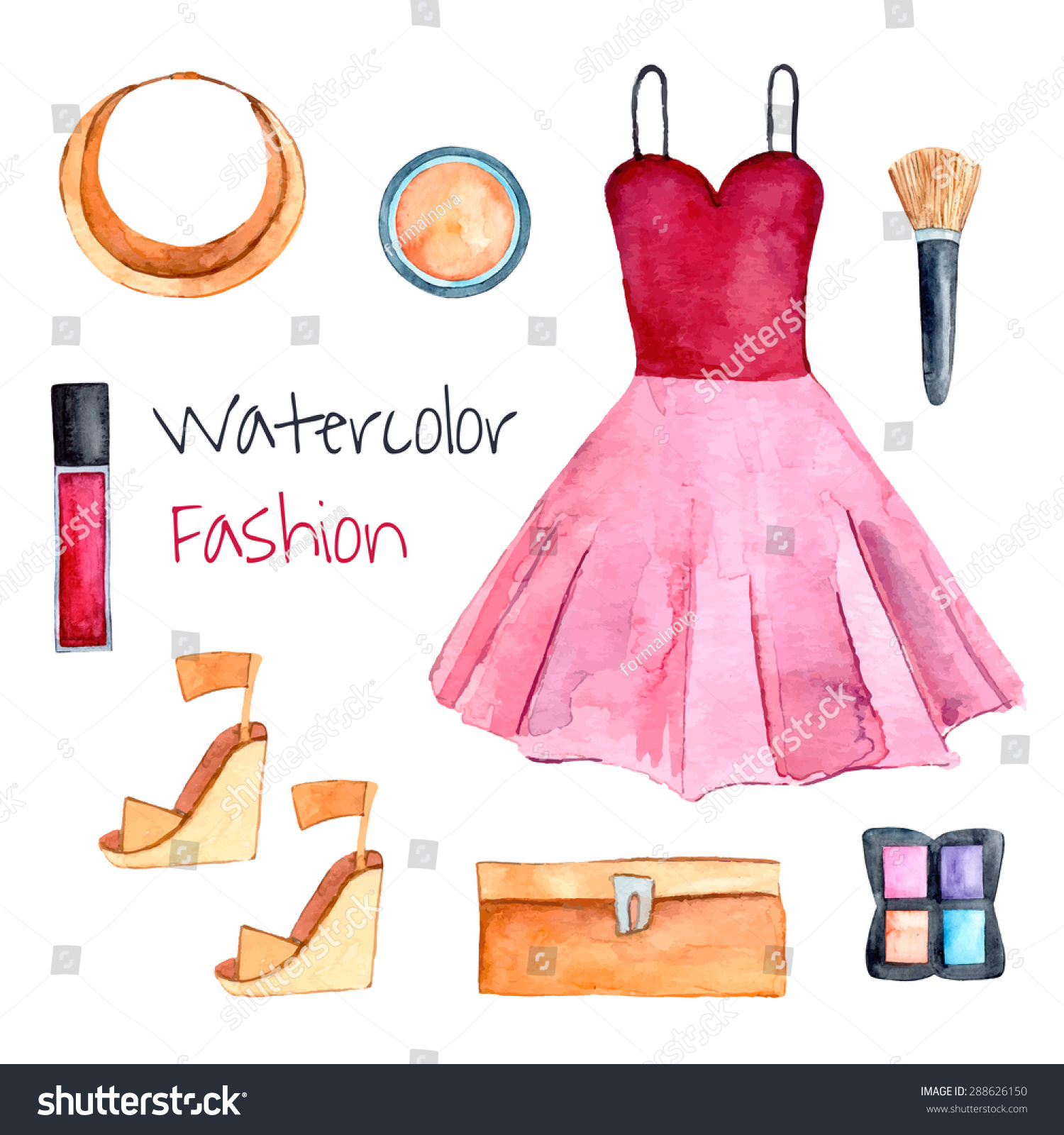 fashion set hand drawn watercolor clothes stock vector 288626150