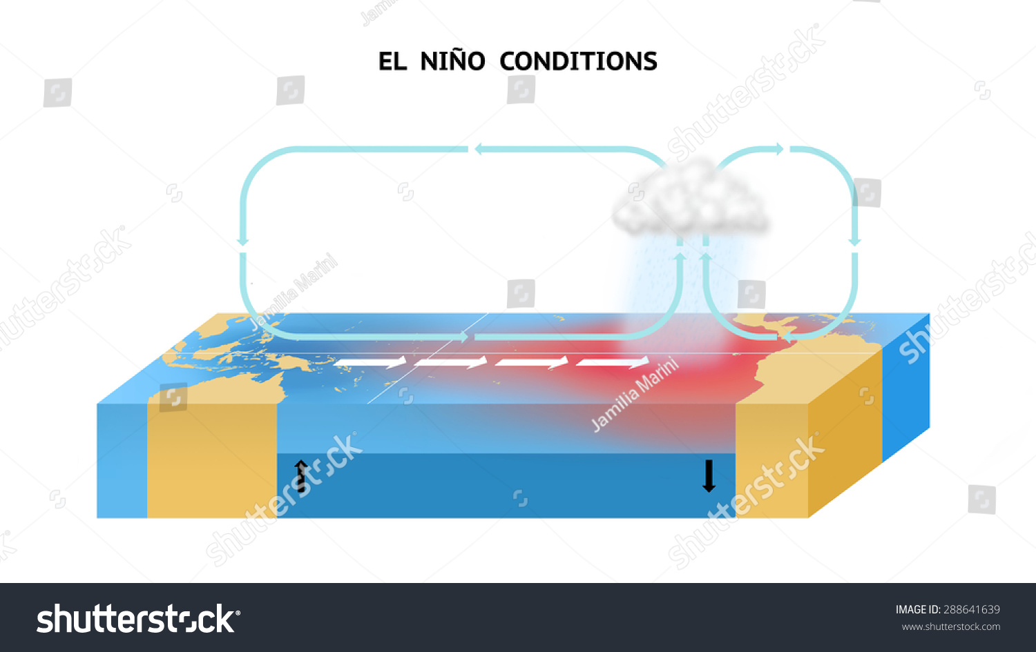 El Nino Conditions Equatorial Pacific Ocean Stock Illustration ...
