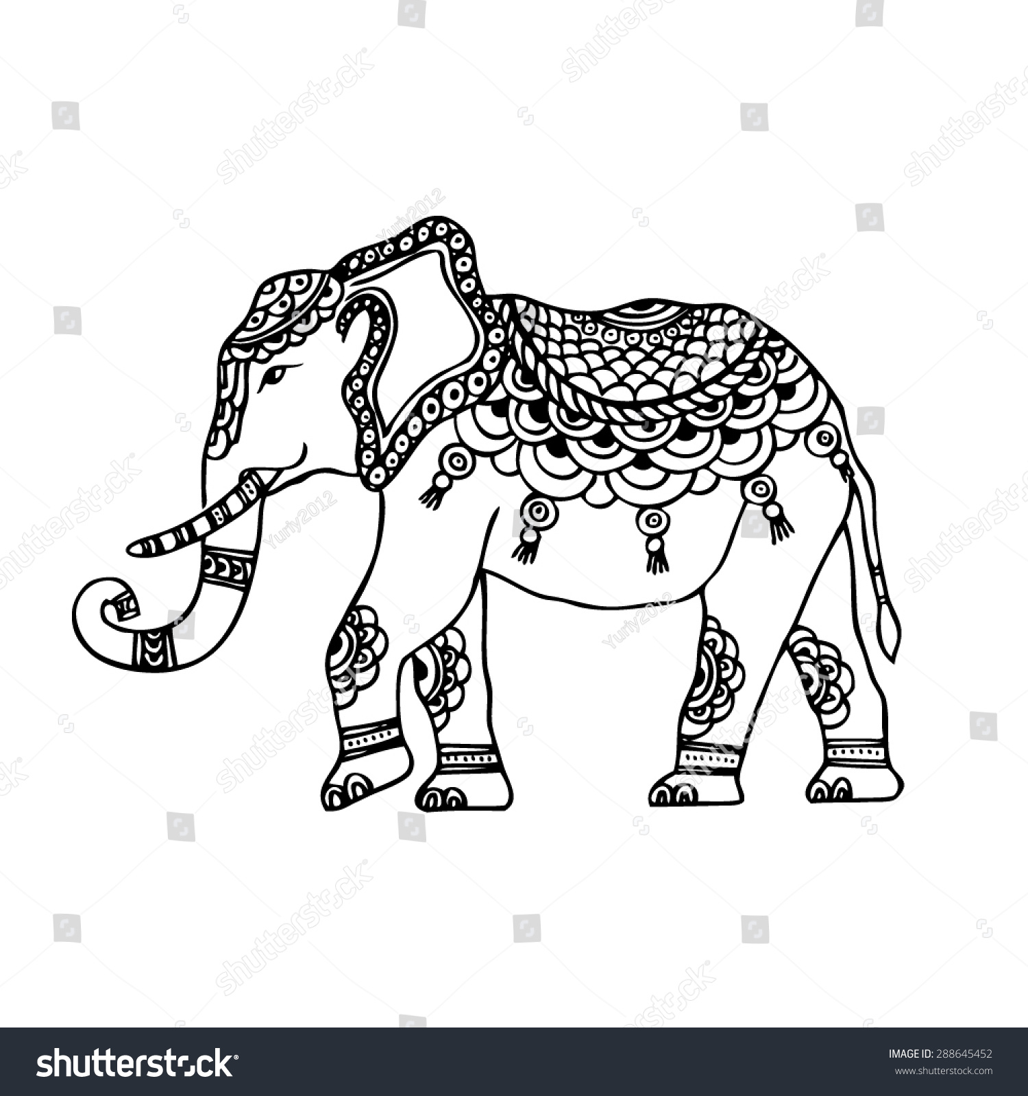 Abstract Indian Elephant Stock Vector 288645452 - Shutterstock