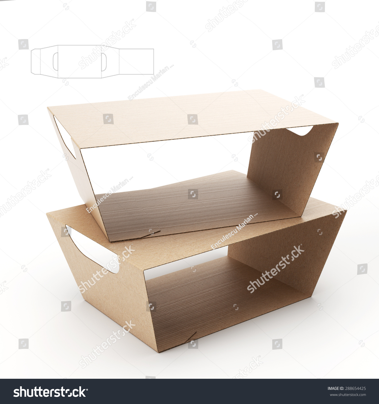 empty food tray sleeve packaging handles stock illustration 288654425 shutterstock. Black Bedroom Furniture Sets. Home Design Ideas